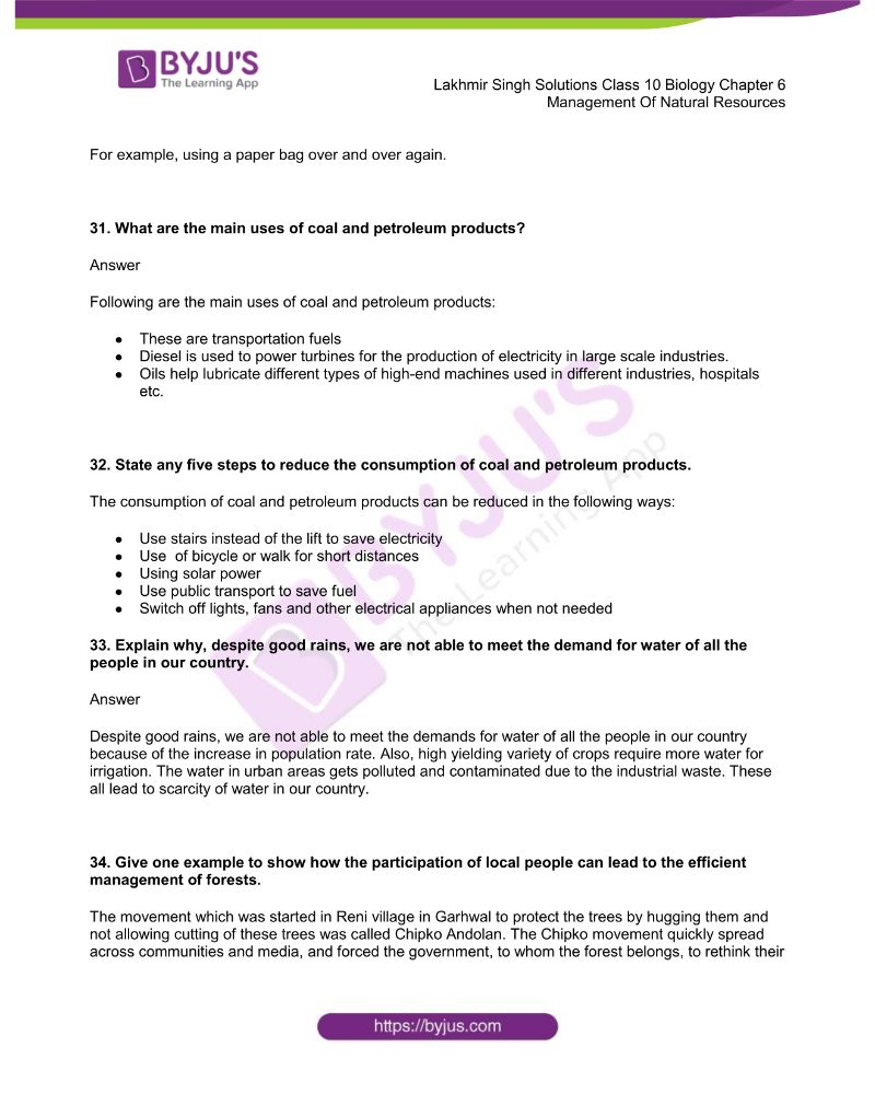 Lakhmir Singh Solutions Class 10 Biology Chapter 6 Management Of Natural Resources 7