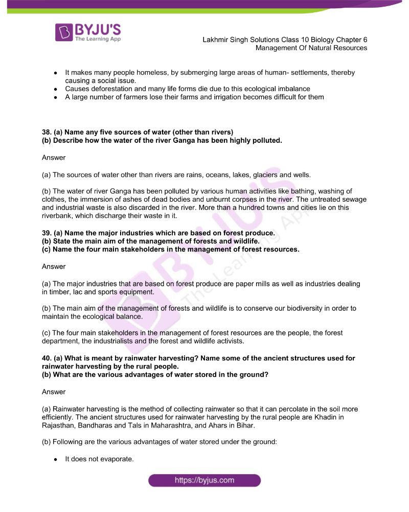 Lakhmir Singh Solutions Class 10 Biology Chapter 6 Management Of Natural Resources 9