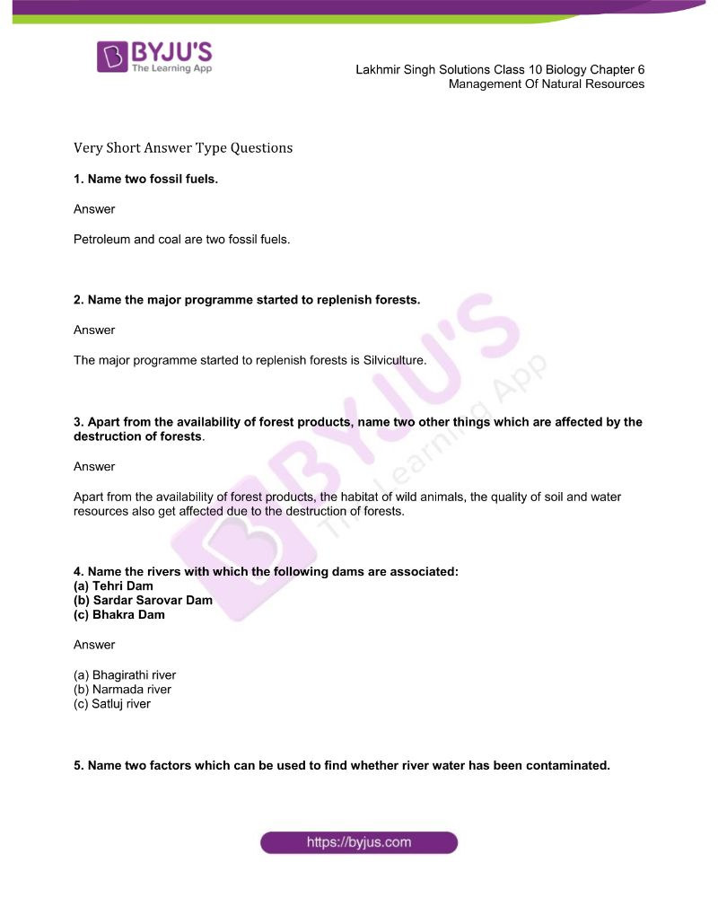 Lakhmir Singh Solutions Class 10 Biology Chapter 6 Management Of Natural Resources
