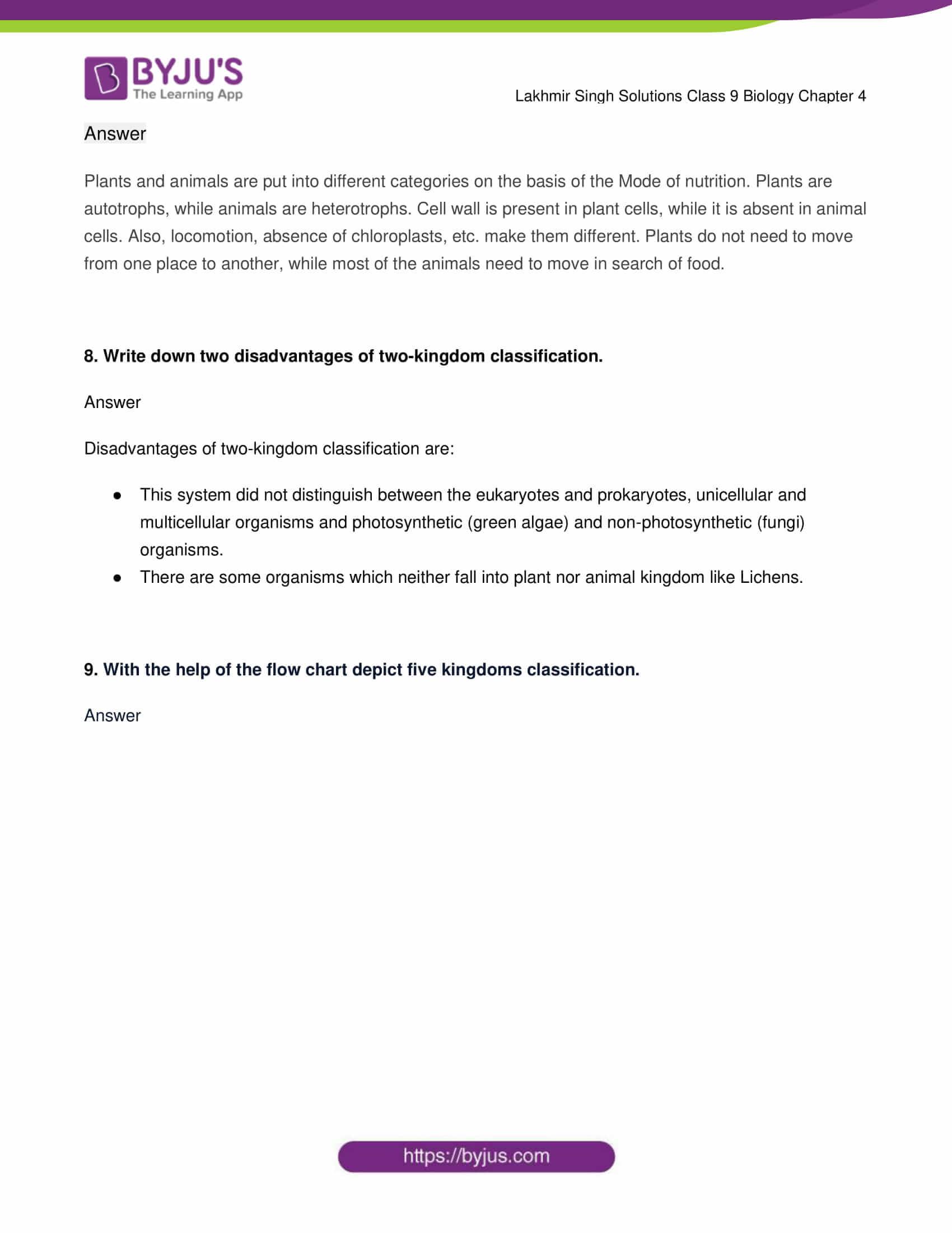 lakhmir singh solutions class 9 biology chapter 4 3