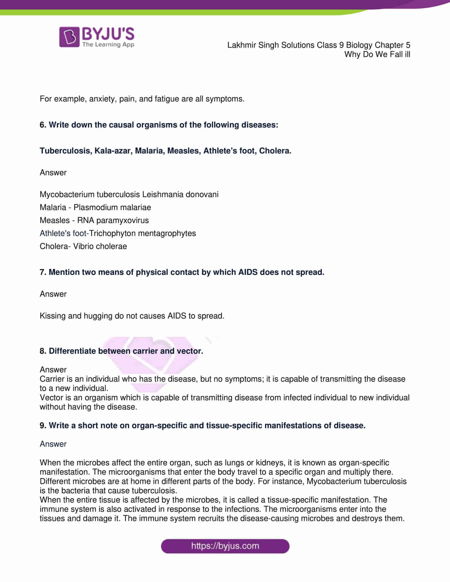 lakhmir singh solutions class 9 biology chapter 5 2