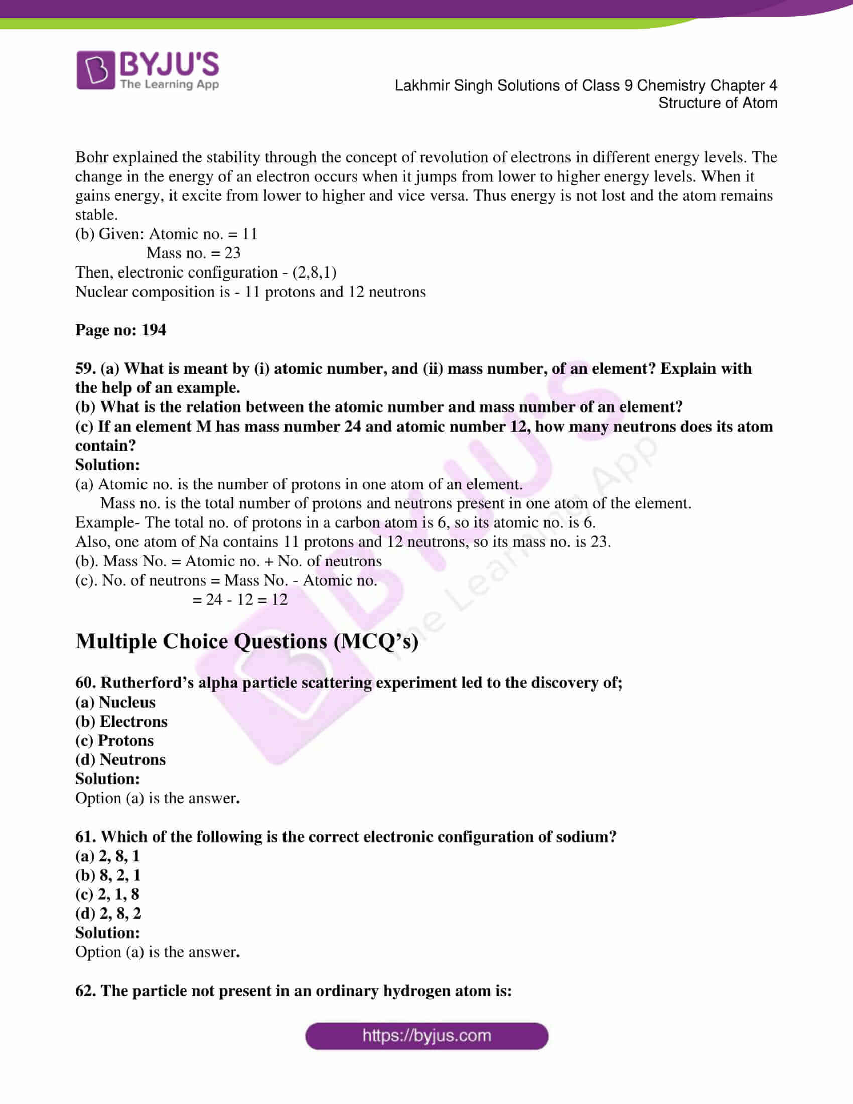 lakhmir singh solutions class 9 chemistry chapter 4 11
