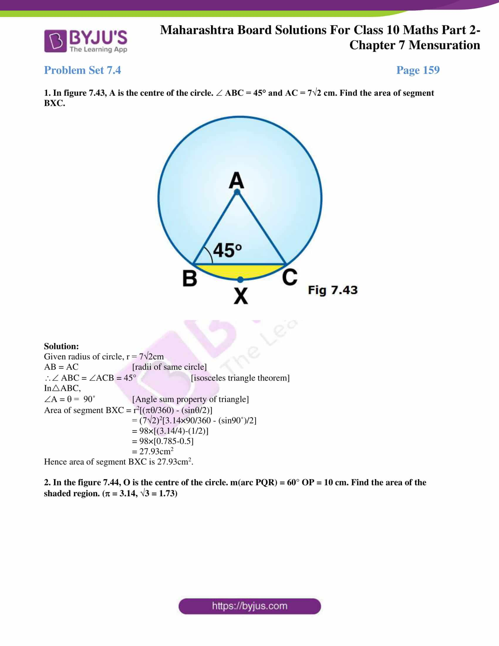 msbshse sol class 10 maths part 2 chapter 7 18