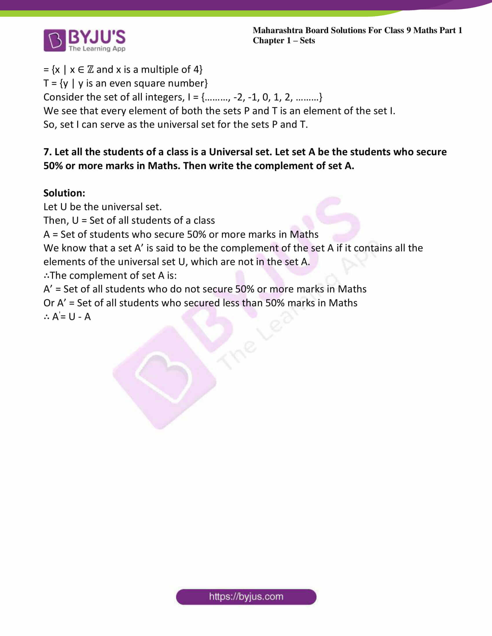 msbshse sol class 9 maths part 1 chapter 1 sets 12