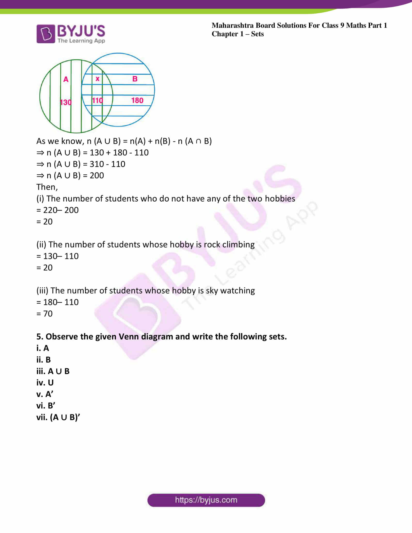 msbshse sol class 9 maths part 1 chapter 1 sets 15