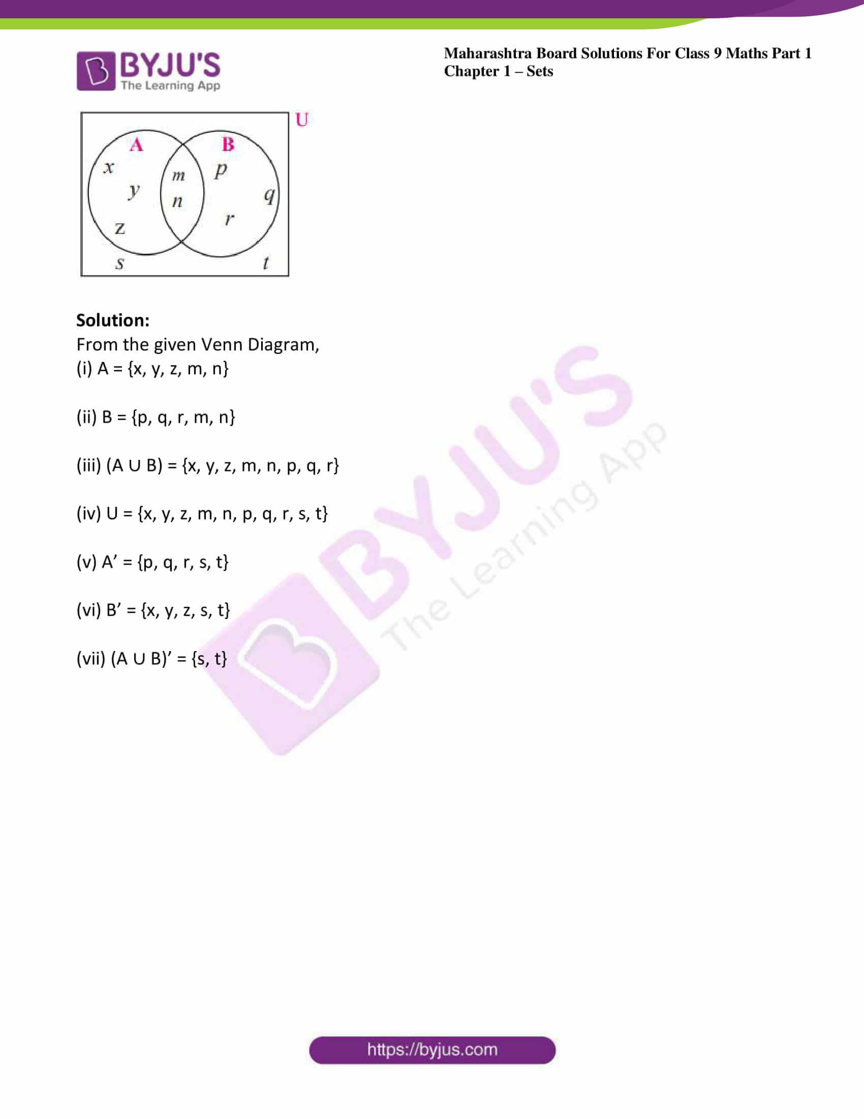 msbshse sol class 9 maths part 1 chapter 1 sets 16