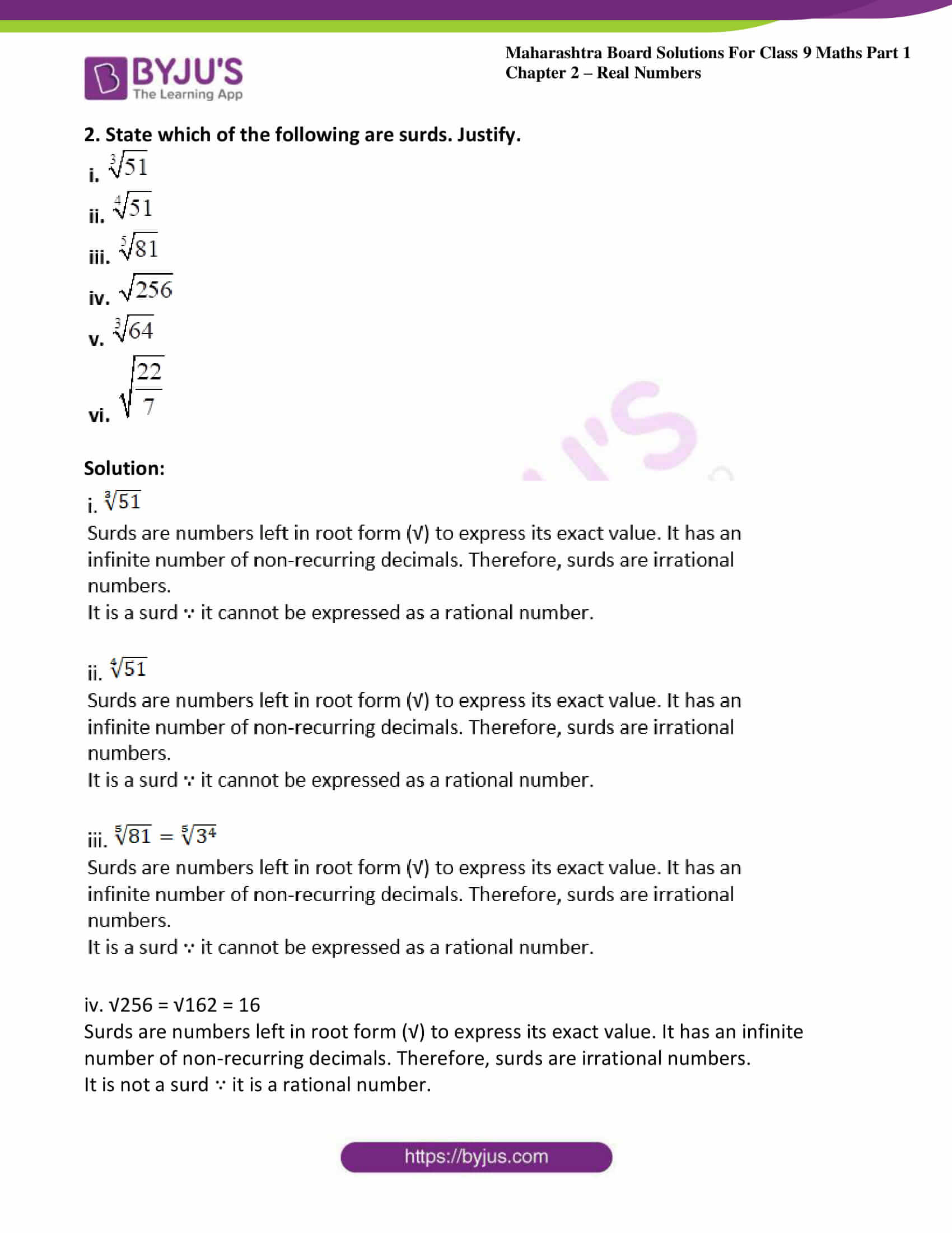 msbshse sol class 9 maths part 1 chapter 2 real numbers 13