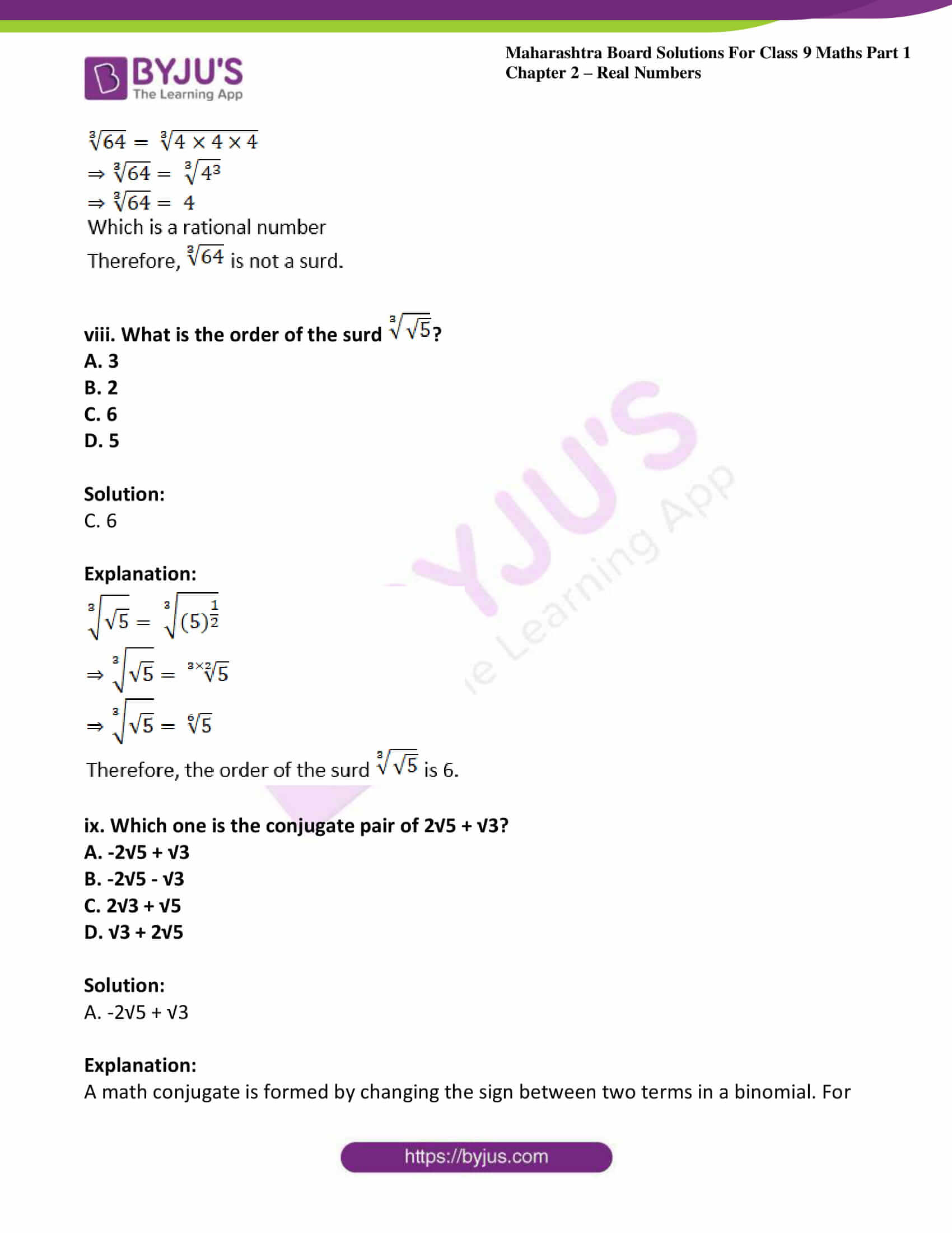 msbshse sol class 9 maths part 1 chapter 2 real numbers 27