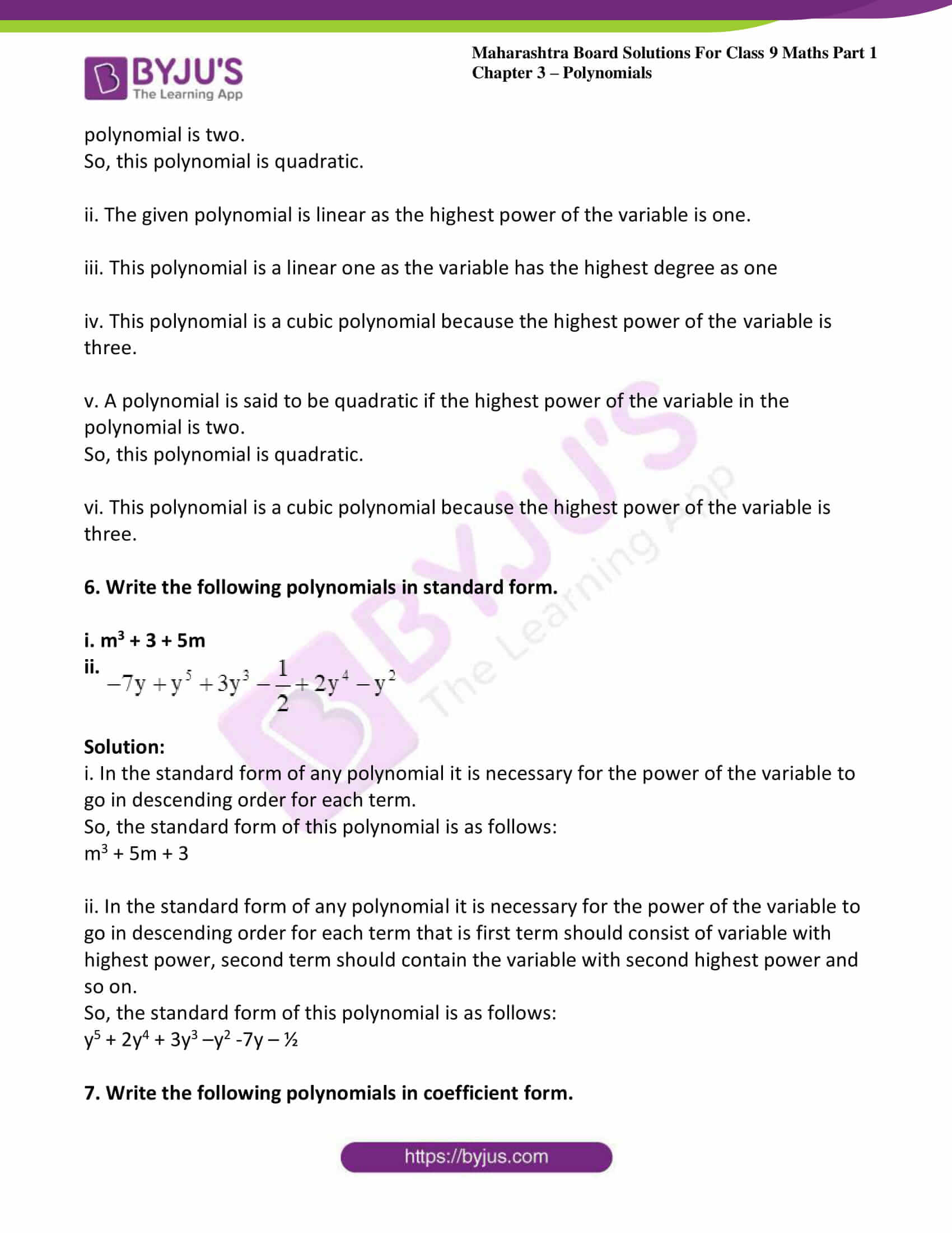 msbshse sol class 9 maths part 1 chapter 3 polynomials 04