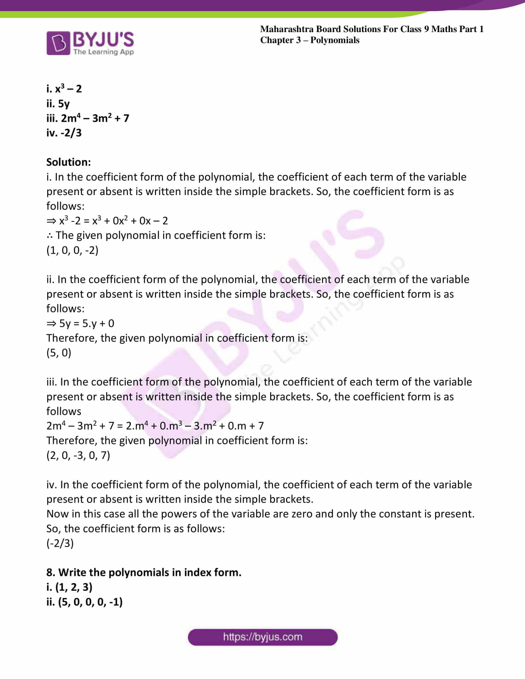 msbshse sol class 9 maths part 1 chapter 3 polynomials 05