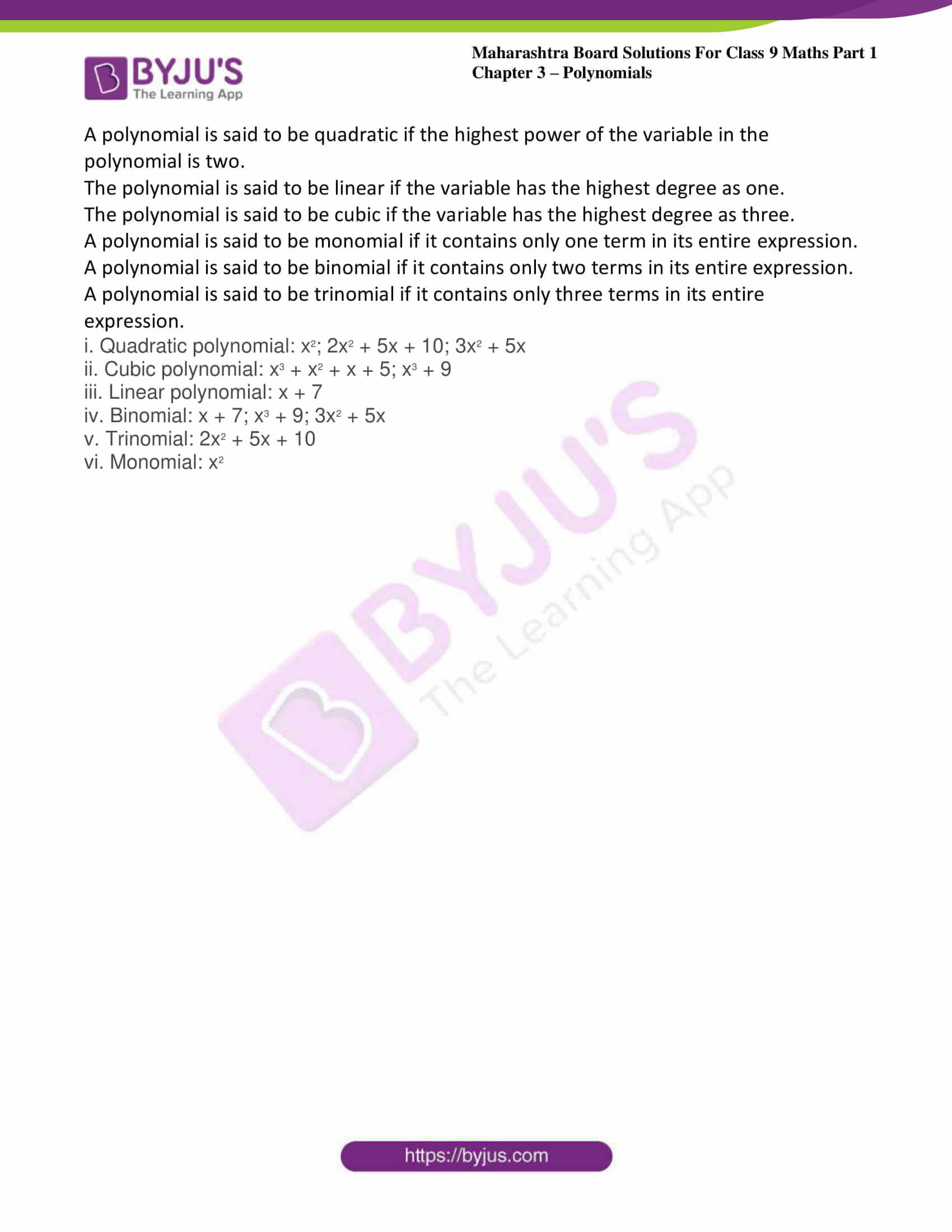 msbshse sol class 9 maths part 1 chapter 3 polynomials 07