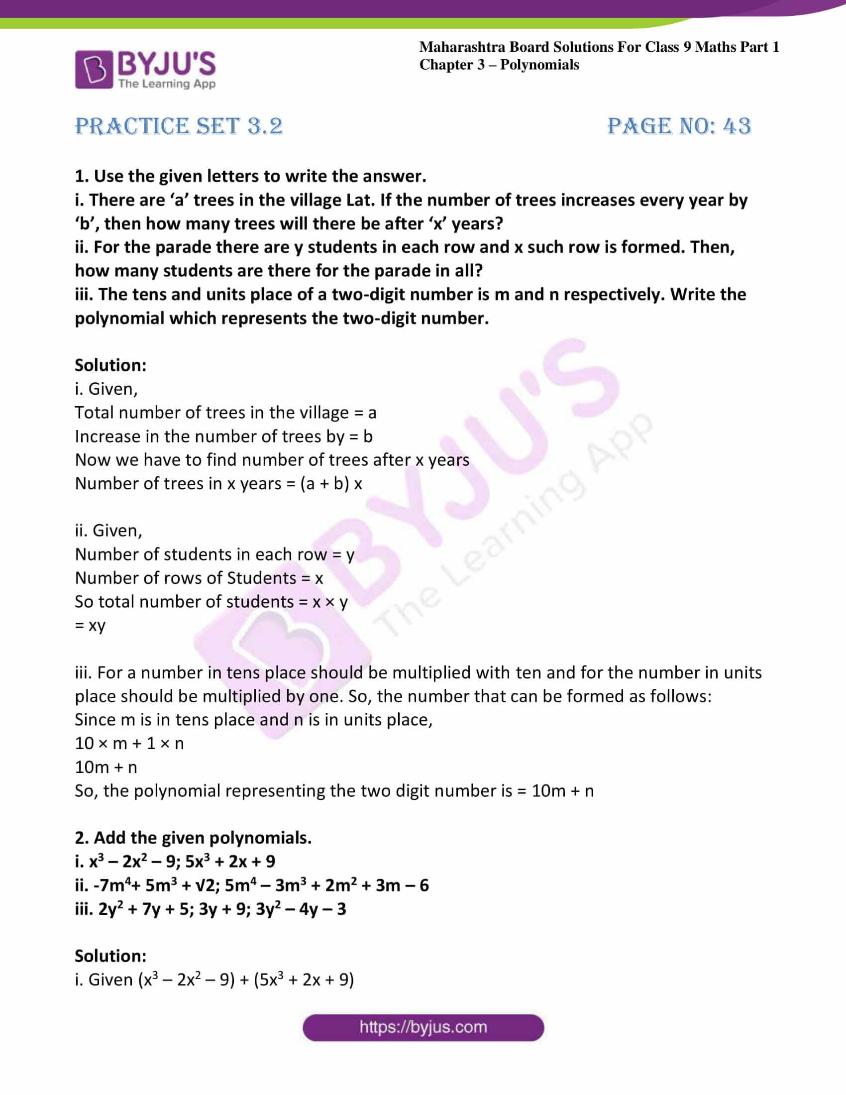 msbshse sol class 9 maths part 1 chapter 3 polynomials 08