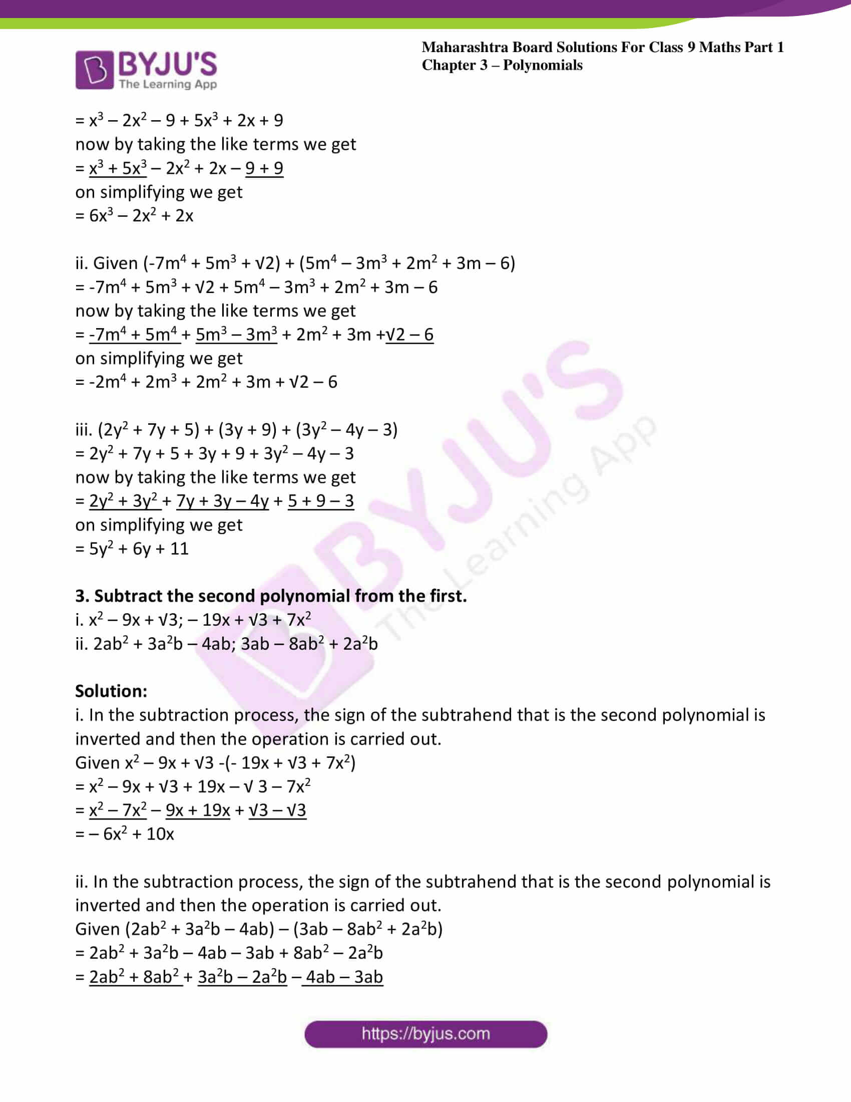 msbshse sol class 9 maths part 1 chapter 3 polynomials 09