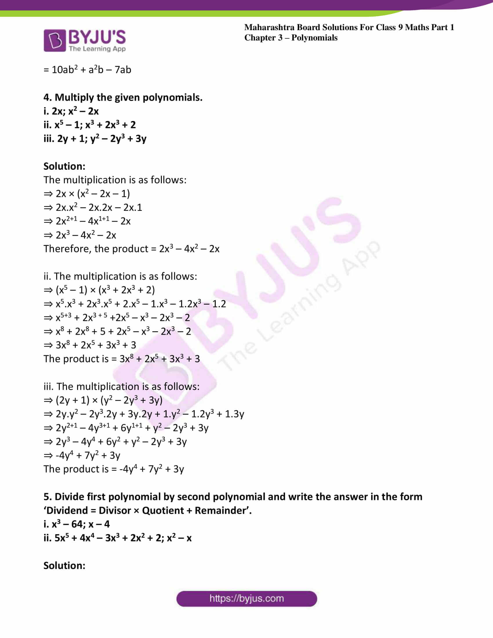 msbshse sol class 9 maths part 1 chapter 3 polynomials 10