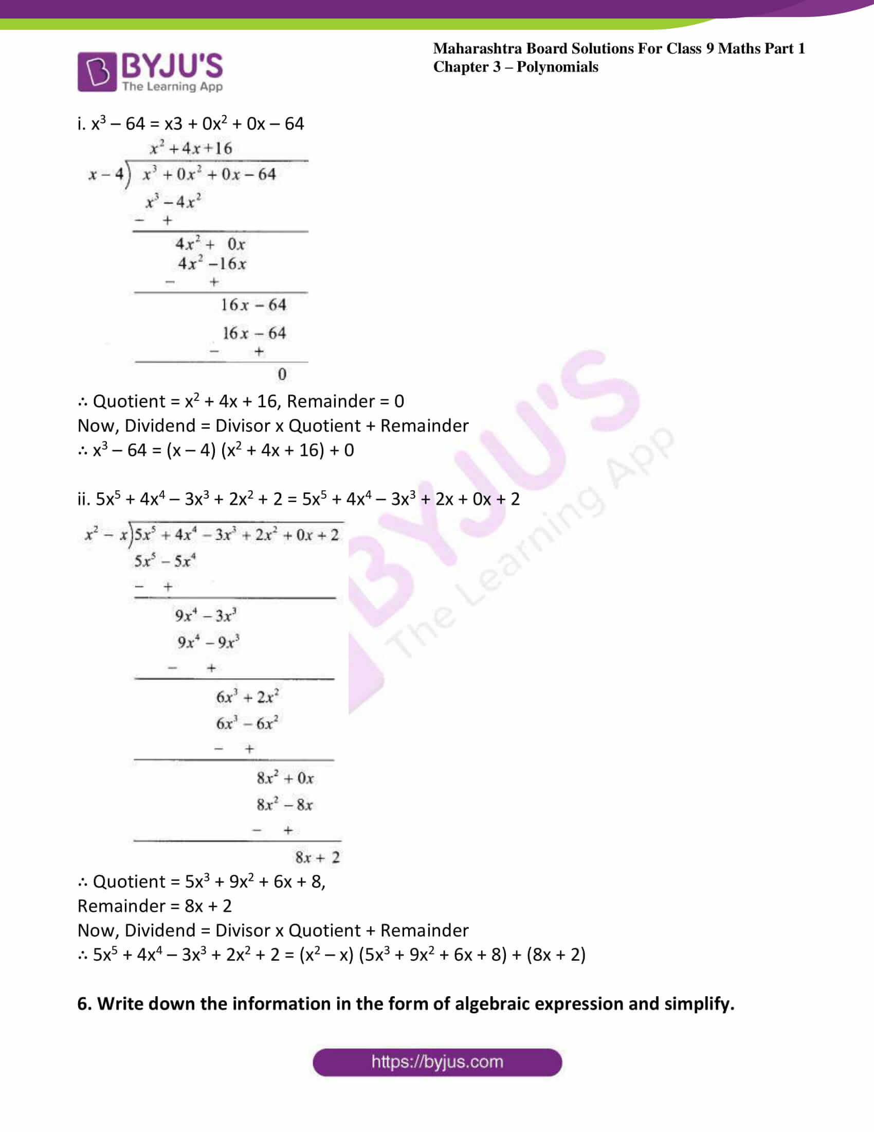 msbshse sol class 9 maths part 1 chapter 3 polynomials 11