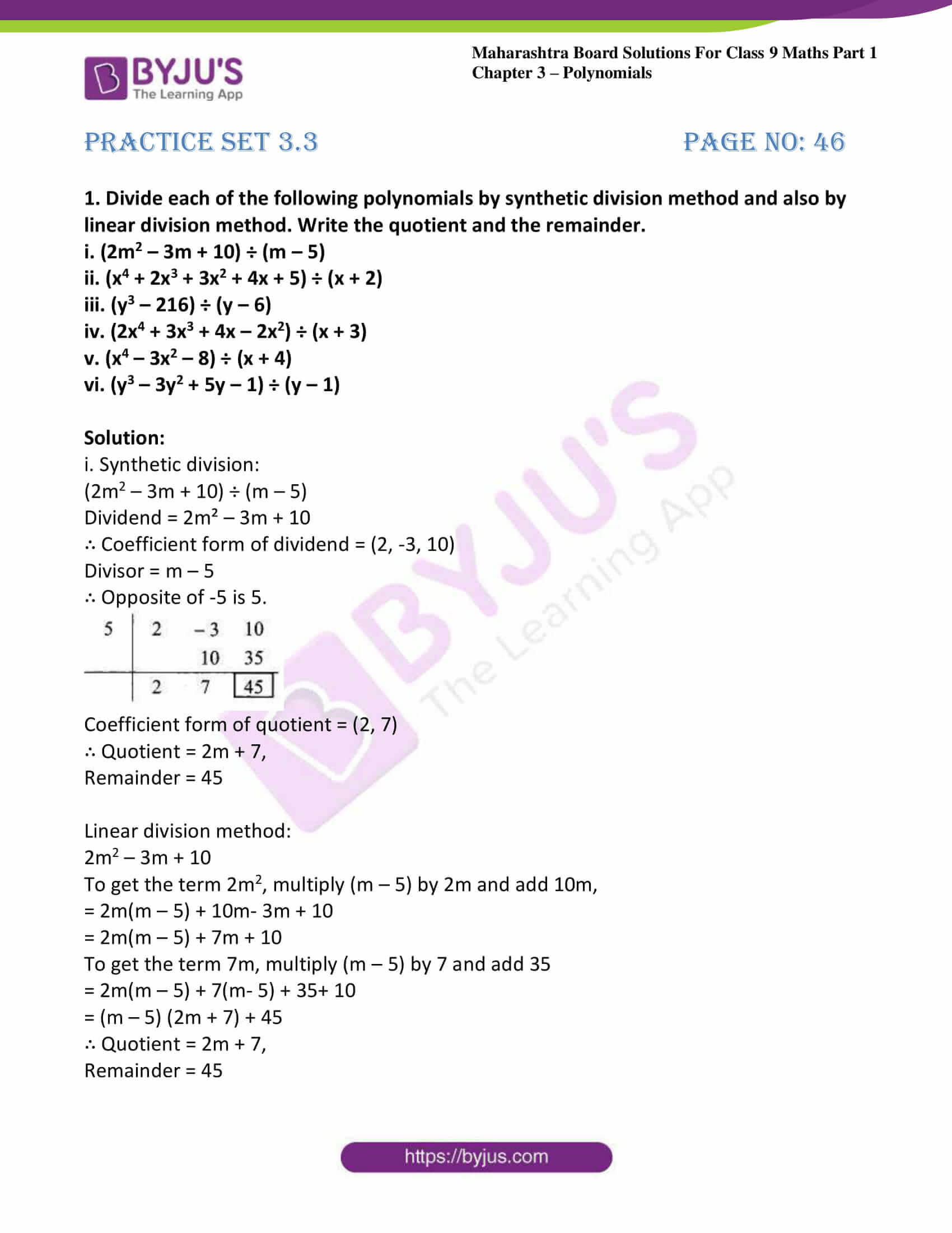 msbshse sol class 9 maths part 1 chapter 3 polynomials 13