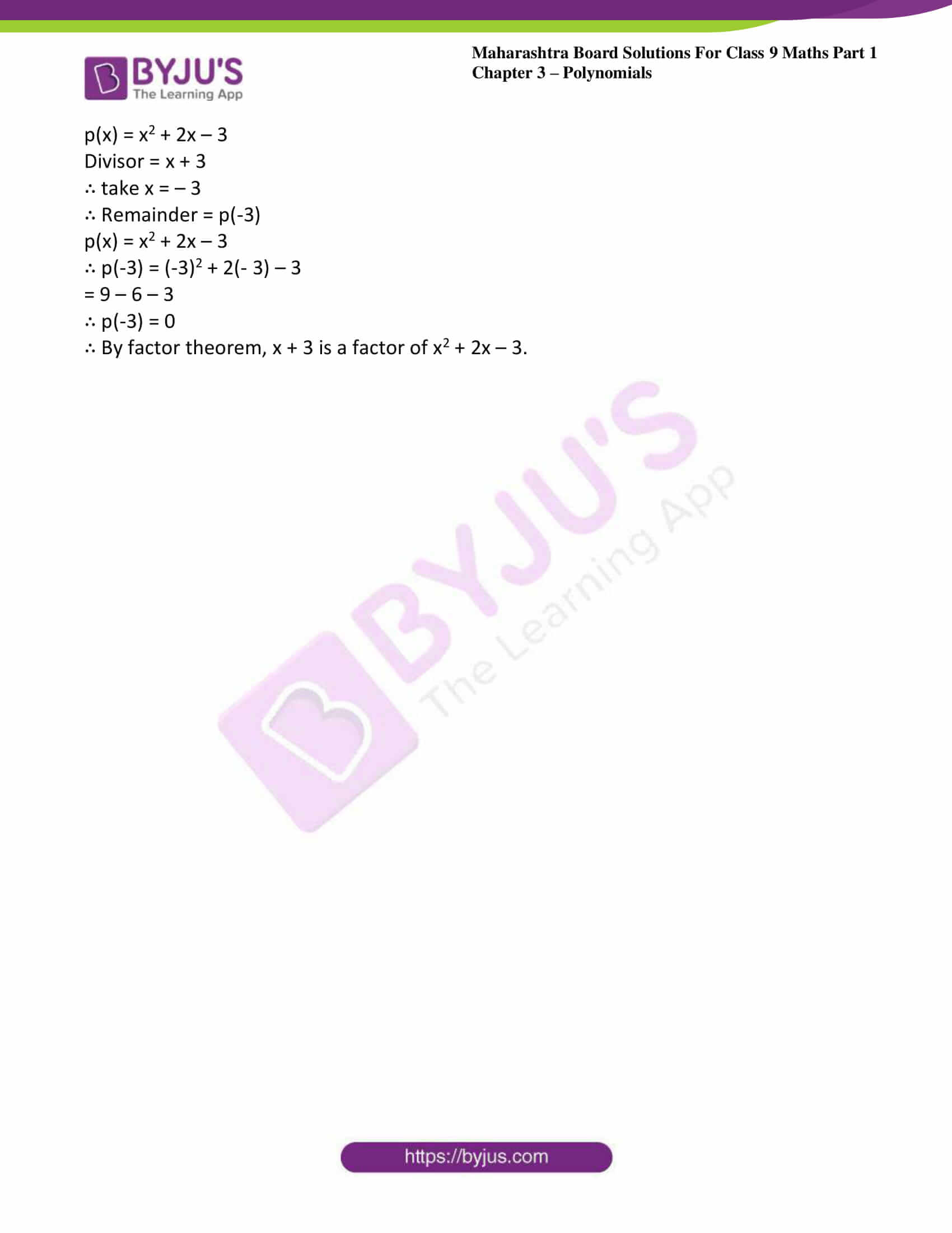 msbshse sol class 9 maths part 1 chapter 3 polynomials 24