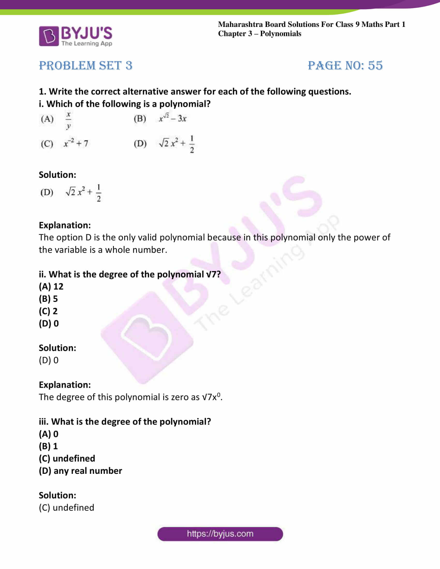 msbshse sol class 9 maths part 1 chapter 3 polynomials 29
