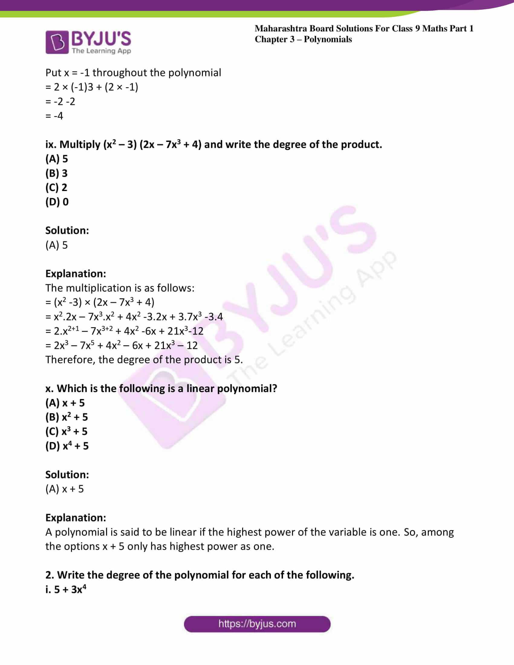 msbshse sol class 9 maths part 1 chapter 3 polynomials 32