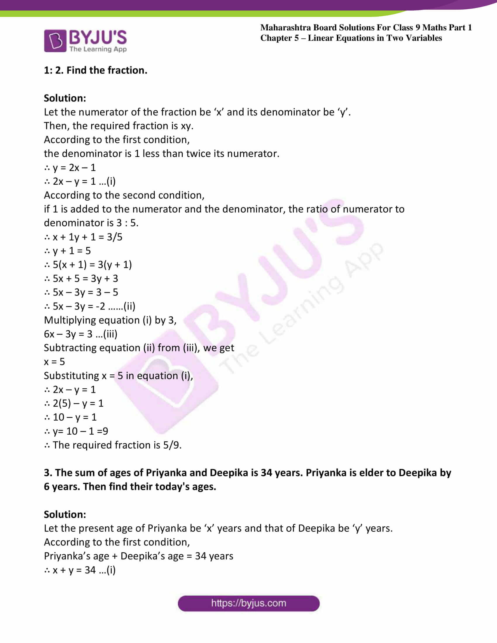 msbshse sol class 9 maths part 1 chapter 5 linear equations in two variables 06