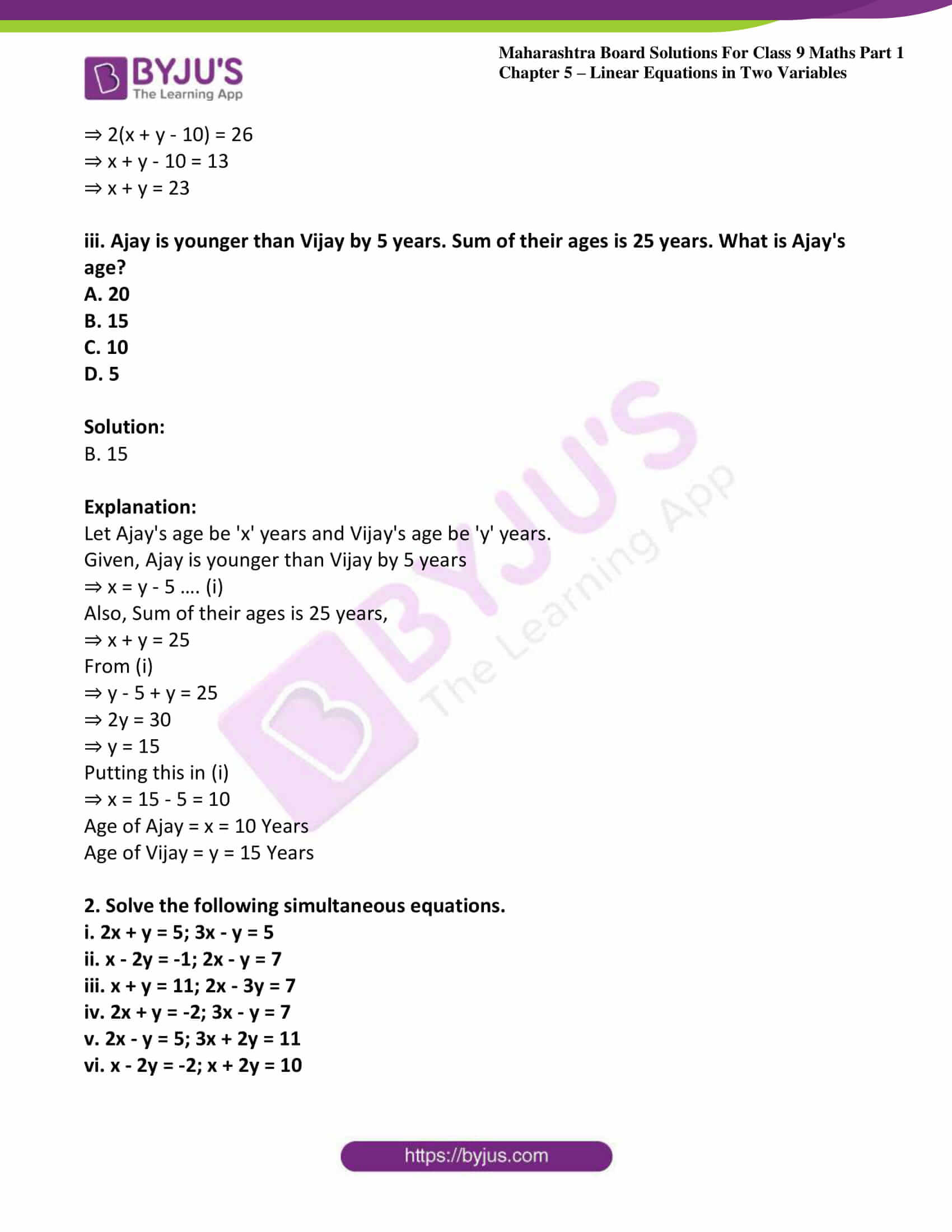 msbshse sol class 9 maths part 1 chapter 5 linear equations in two variables 14