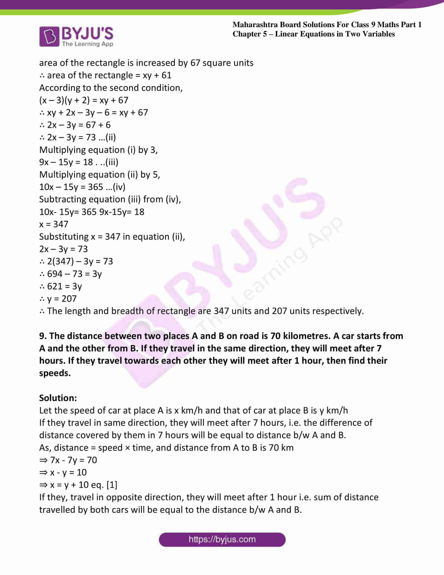 msbshse sol class 9 maths part 1 chapter 5 linear equations in two variables 25