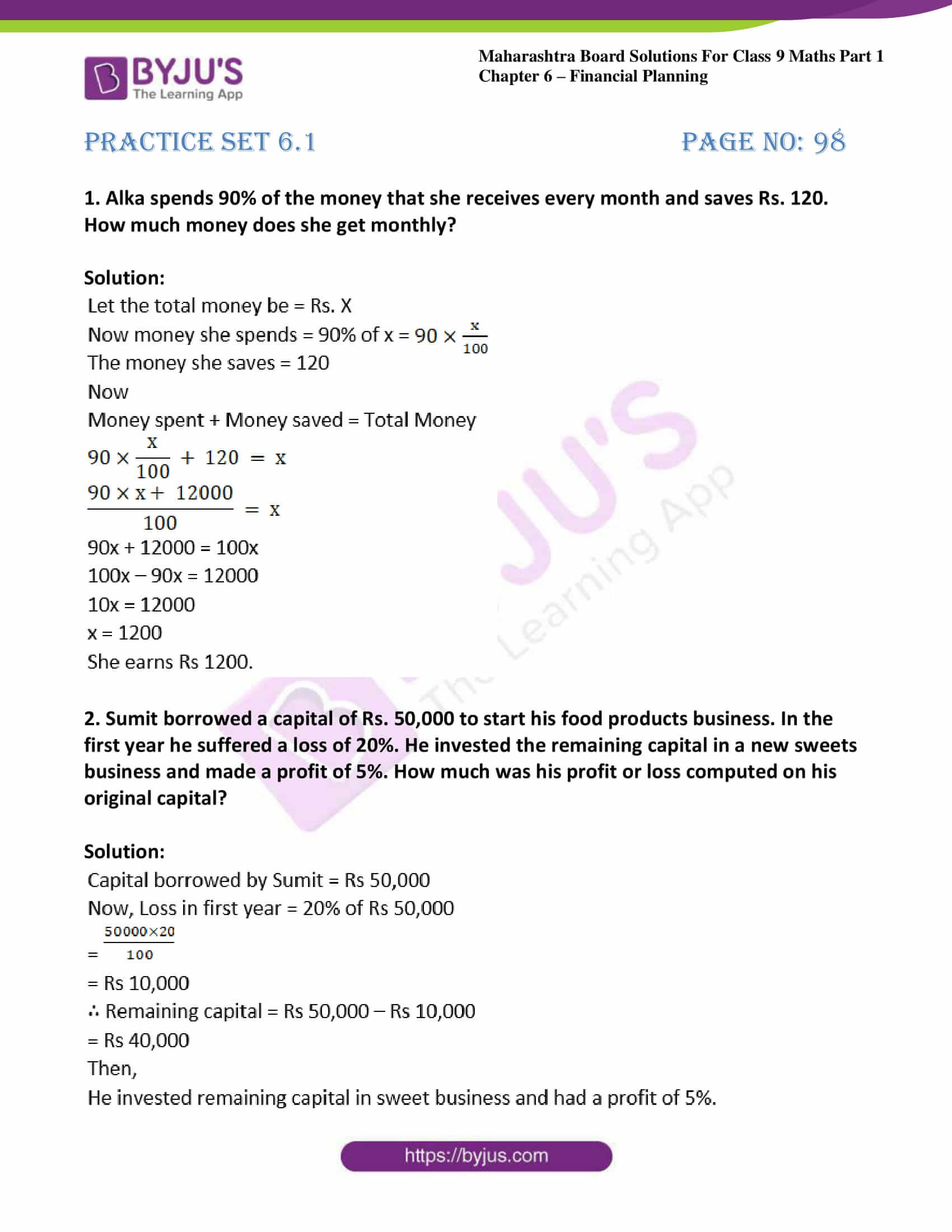 msbshse sol class 9 maths part 1 chapter 6 financial planing 01