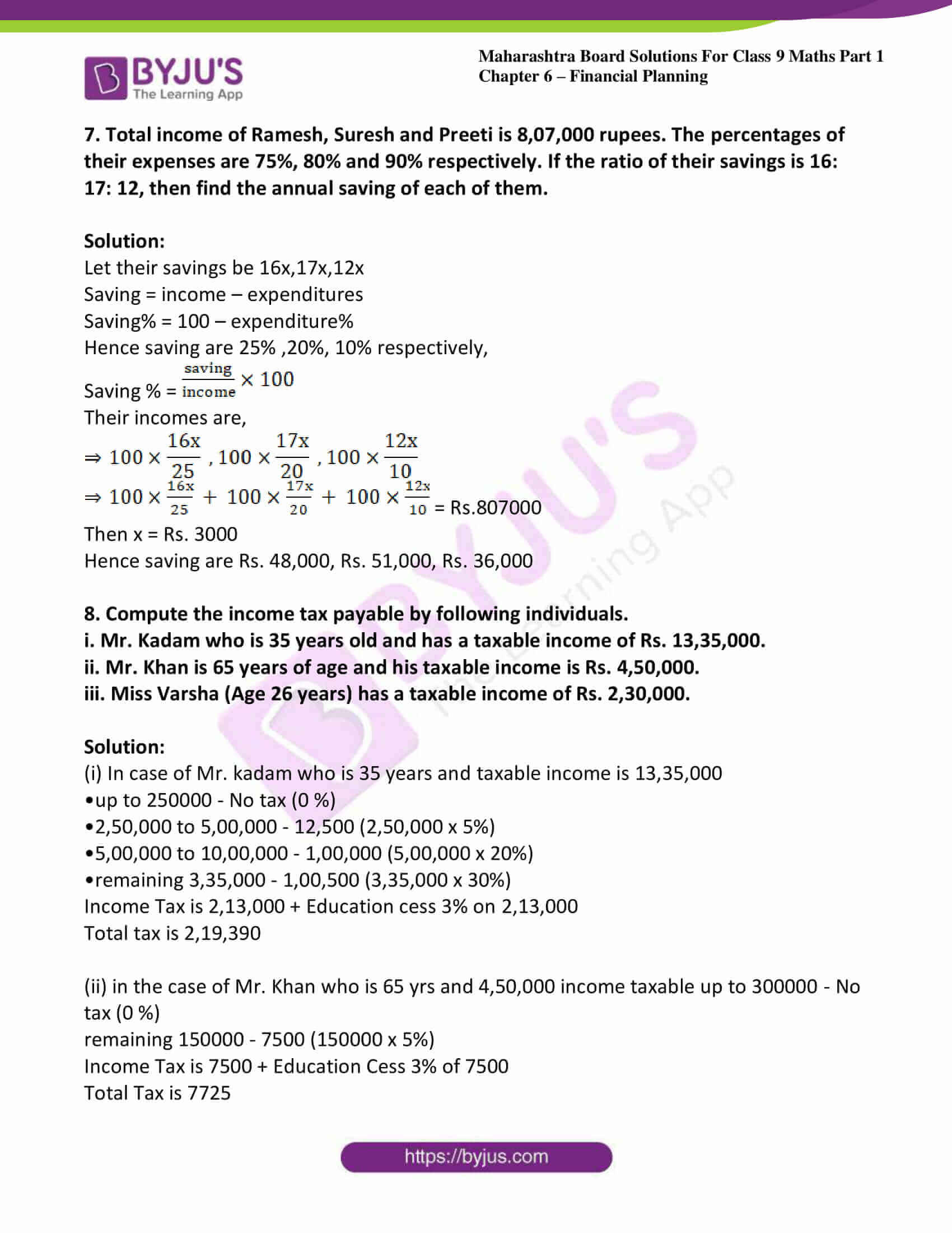 msbshse sol class 9 maths part 1 chapter 6 financial planing 12