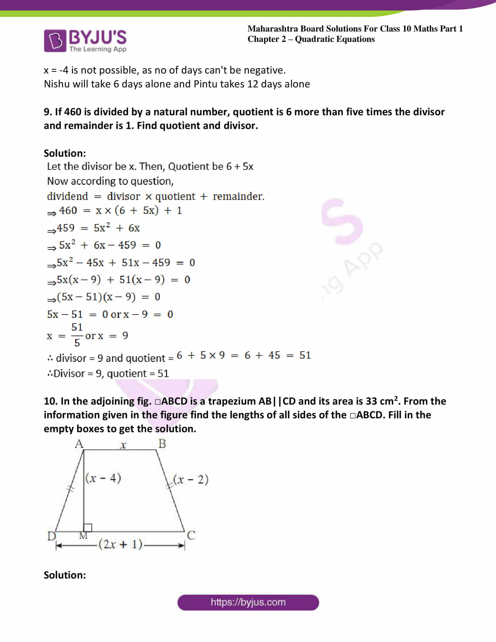 msbshse solutions class 10 maths part 1 chapter 2 34