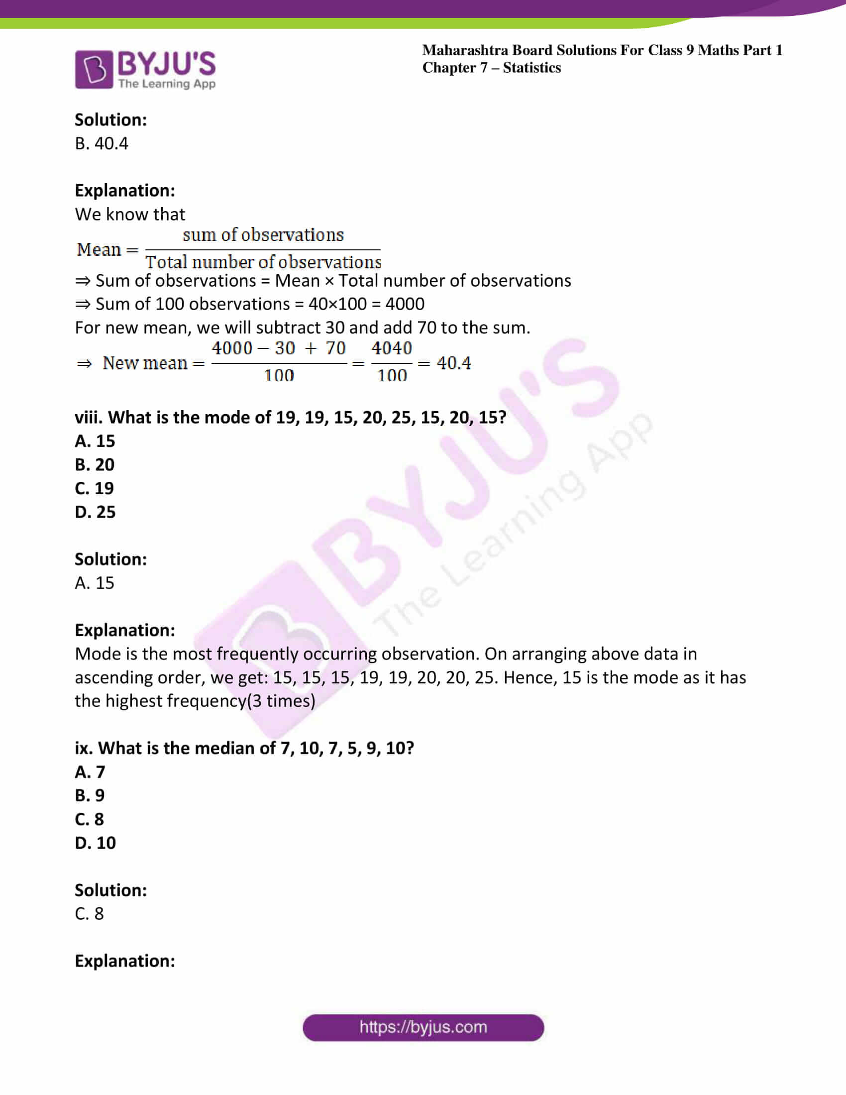 msbshse solutions for class 9 maths part 1 chapter 7 24