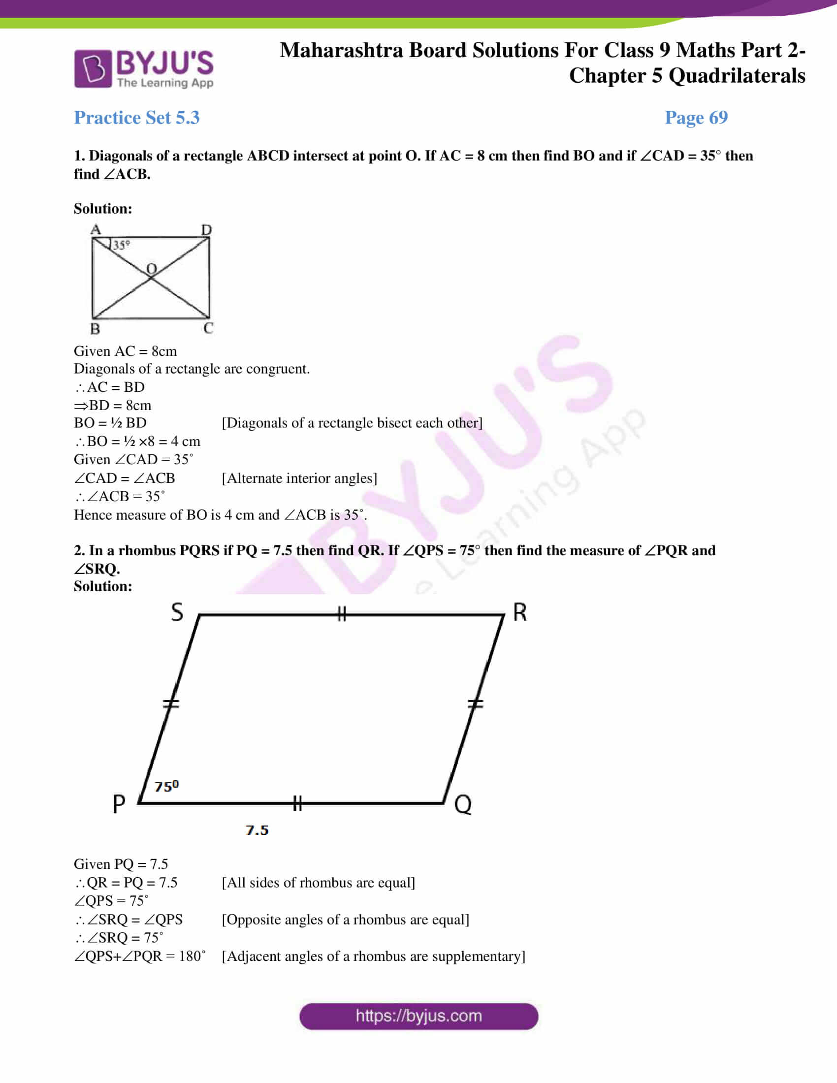 msbshse solutions for class 9 maths part 2 chapter 5 11