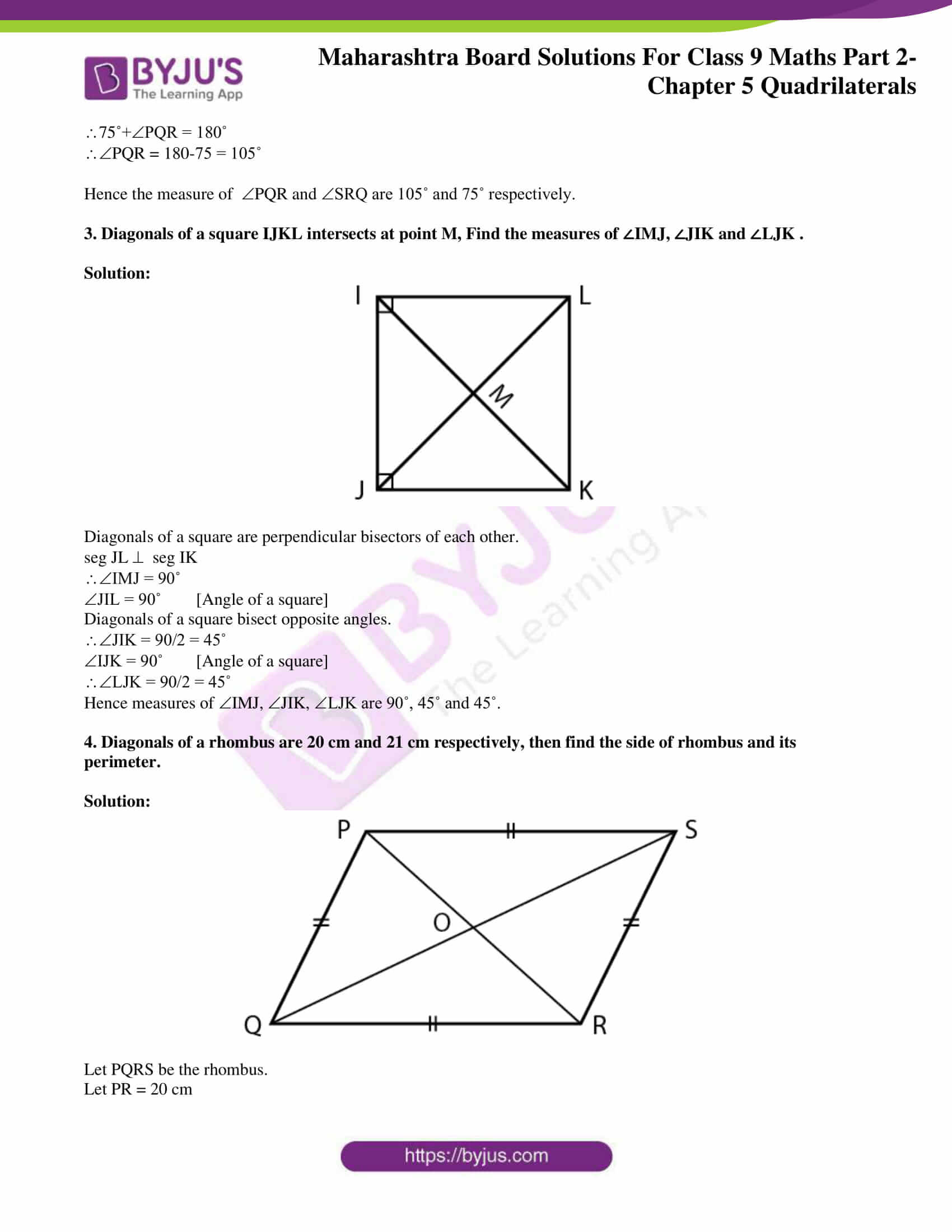 msbshse solutions for class 9 maths part 2 chapter 5 12