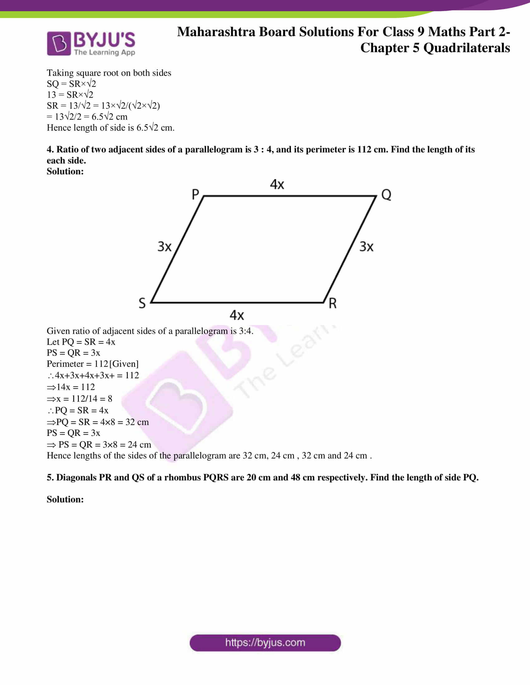 msbshse solutions for class 9 maths part 2 chapter 5 22