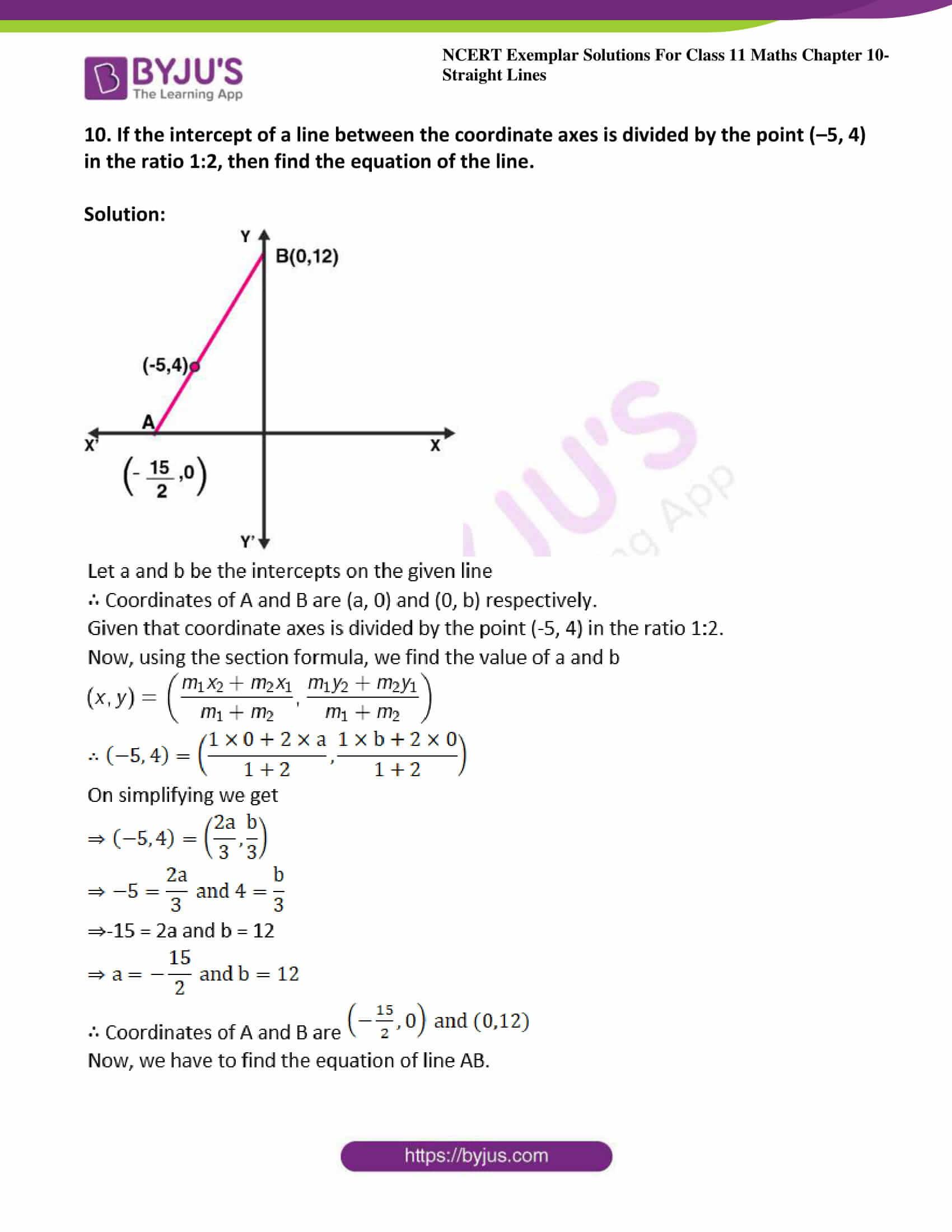 ncert exemplar sol class 11 maths chpt 10 straight lines 11