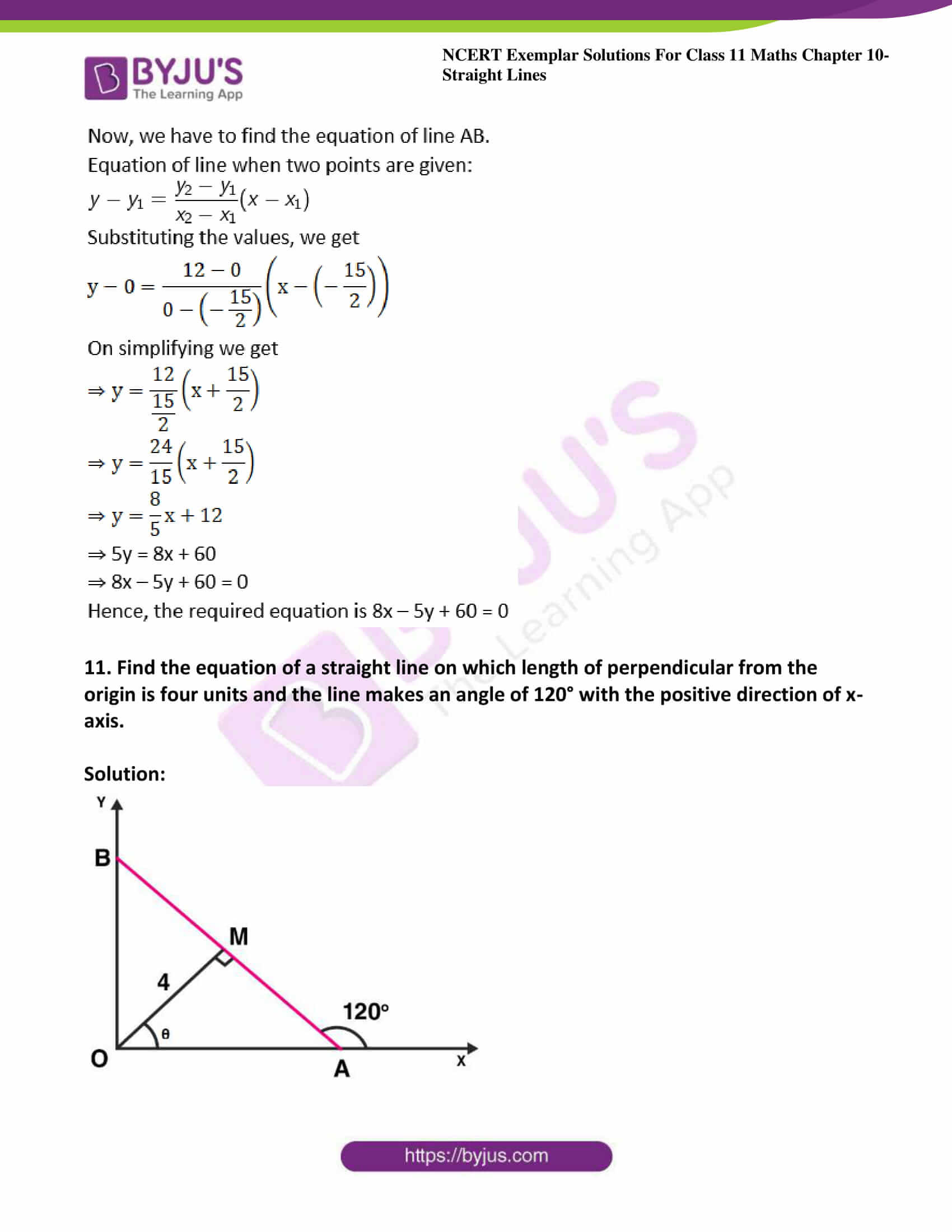 ncert exemplar sol class 11 maths chpt 10 straight lines 12