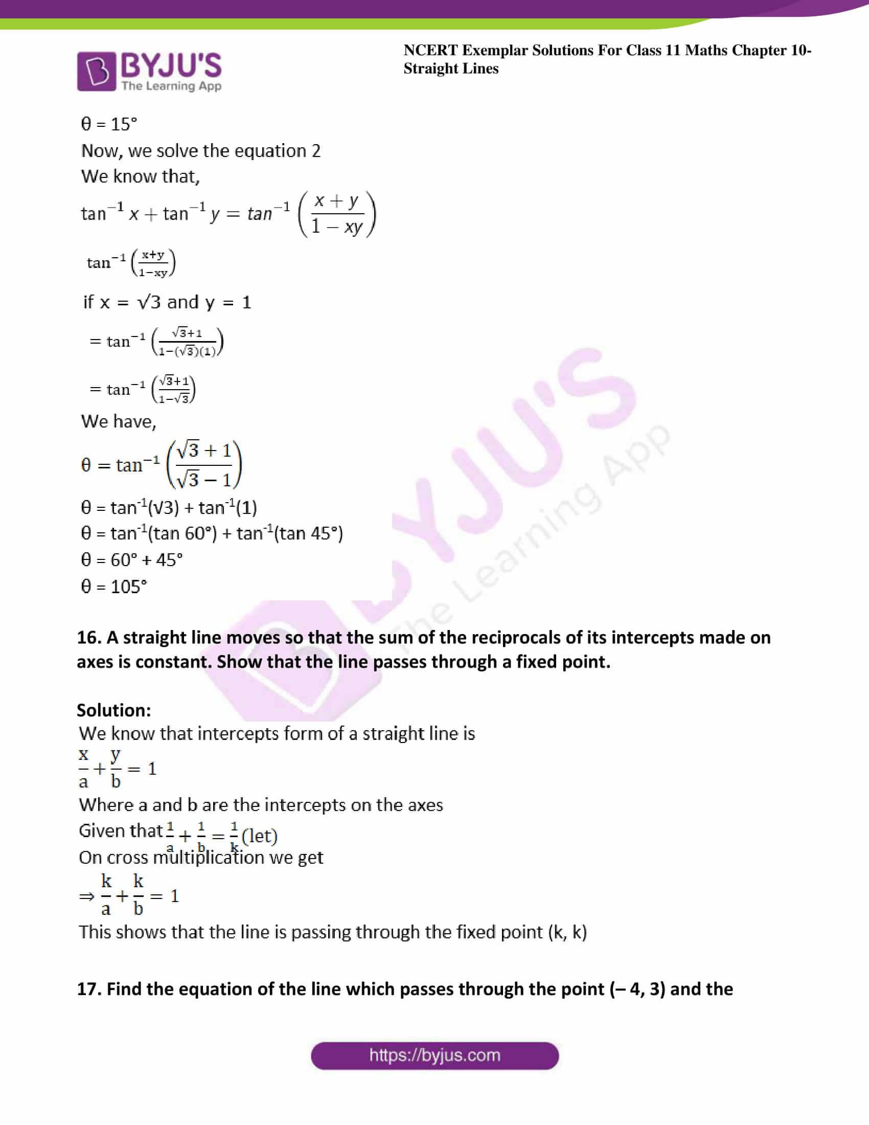 ncert exemplar sol class 11 maths chpt 10 straight lines 21