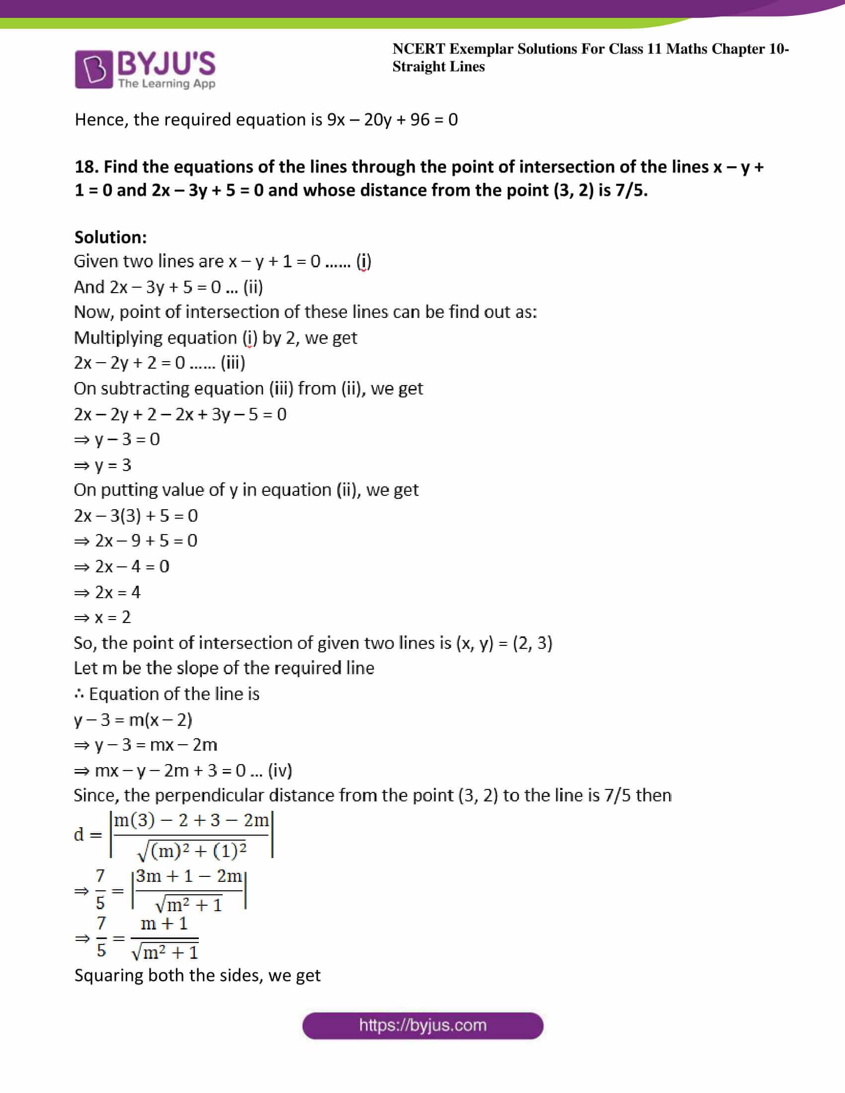 ncert exemplar sol class 11 maths chpt 10 straight lines 23