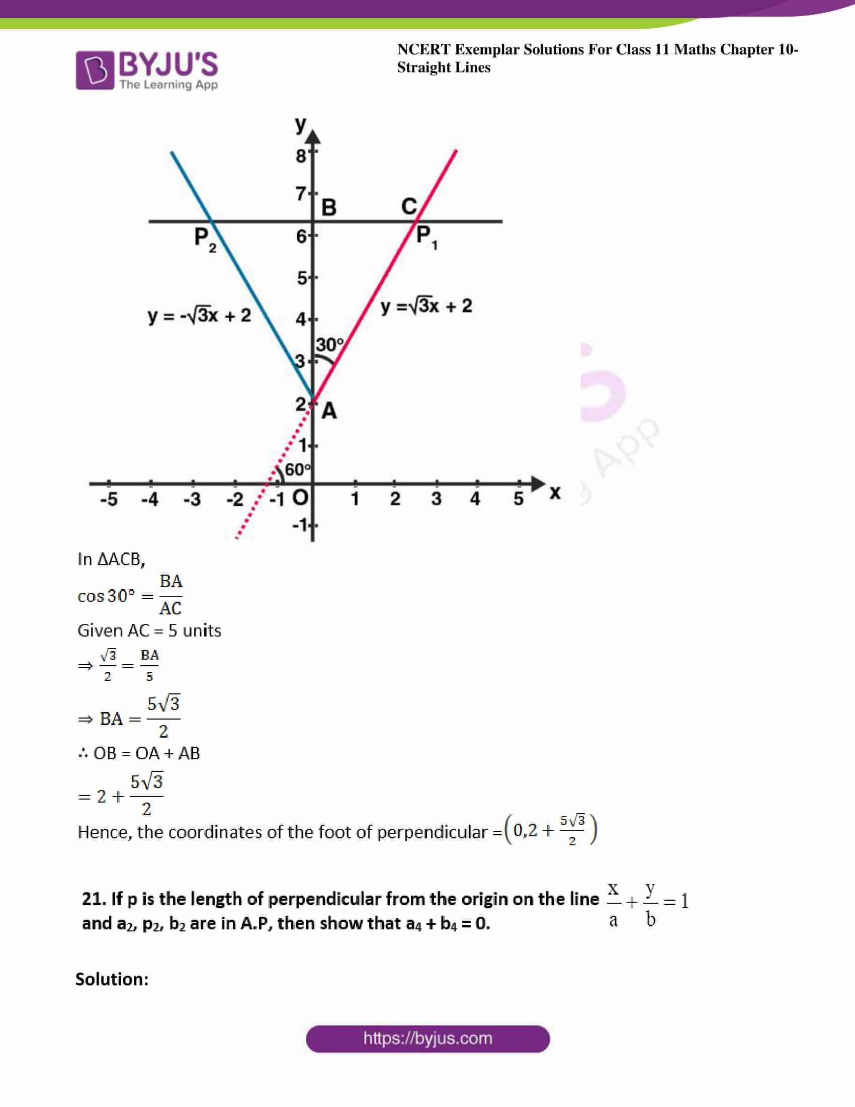ncert exemplar sol class 11 maths chpt 10 straight lines 27