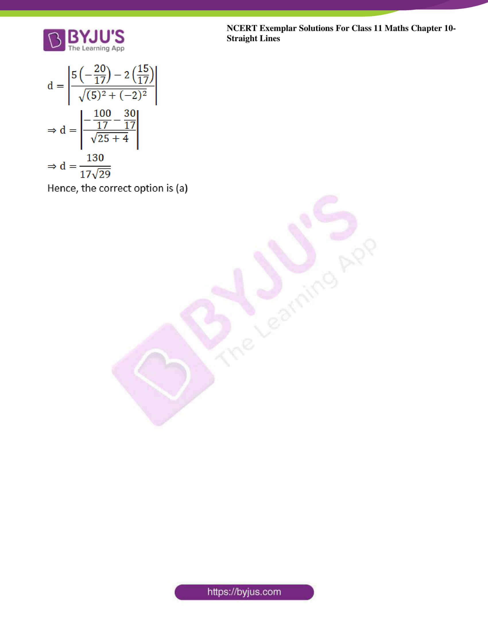 ncert exemplar sol class 11 maths chpt 10 straight lines 36