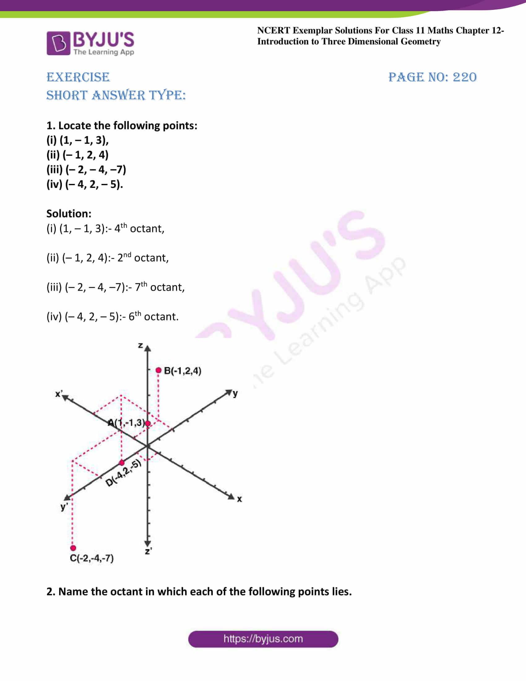 ncert exemplar sol class 11 maths chpt 12 three dimensional 01