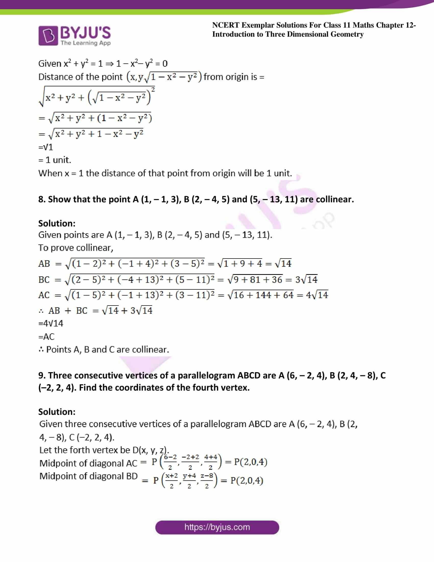 ncert exemplar sol class 11 maths chpt 12 three dimensional 04