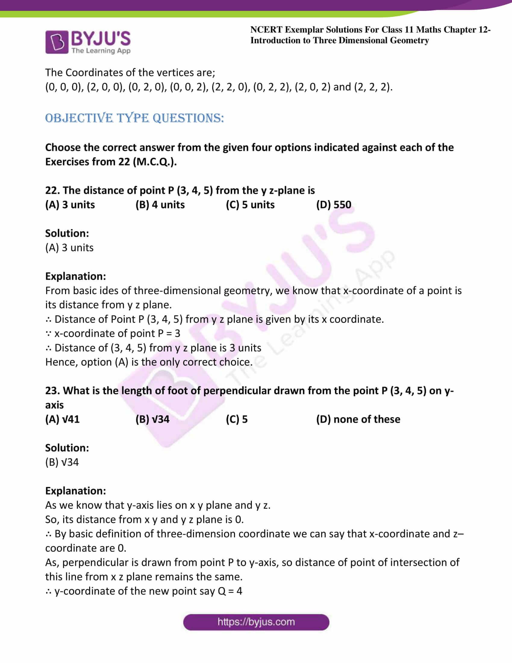 ncert exemplar sol class 11 maths chpt 12 three dimensional 12