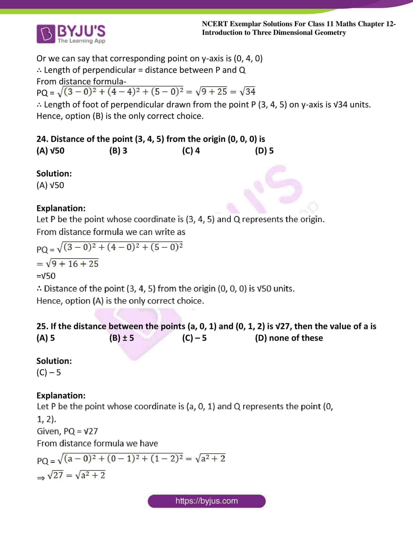 ncert exemplar sol class 11 maths chpt 12 three dimensional 13