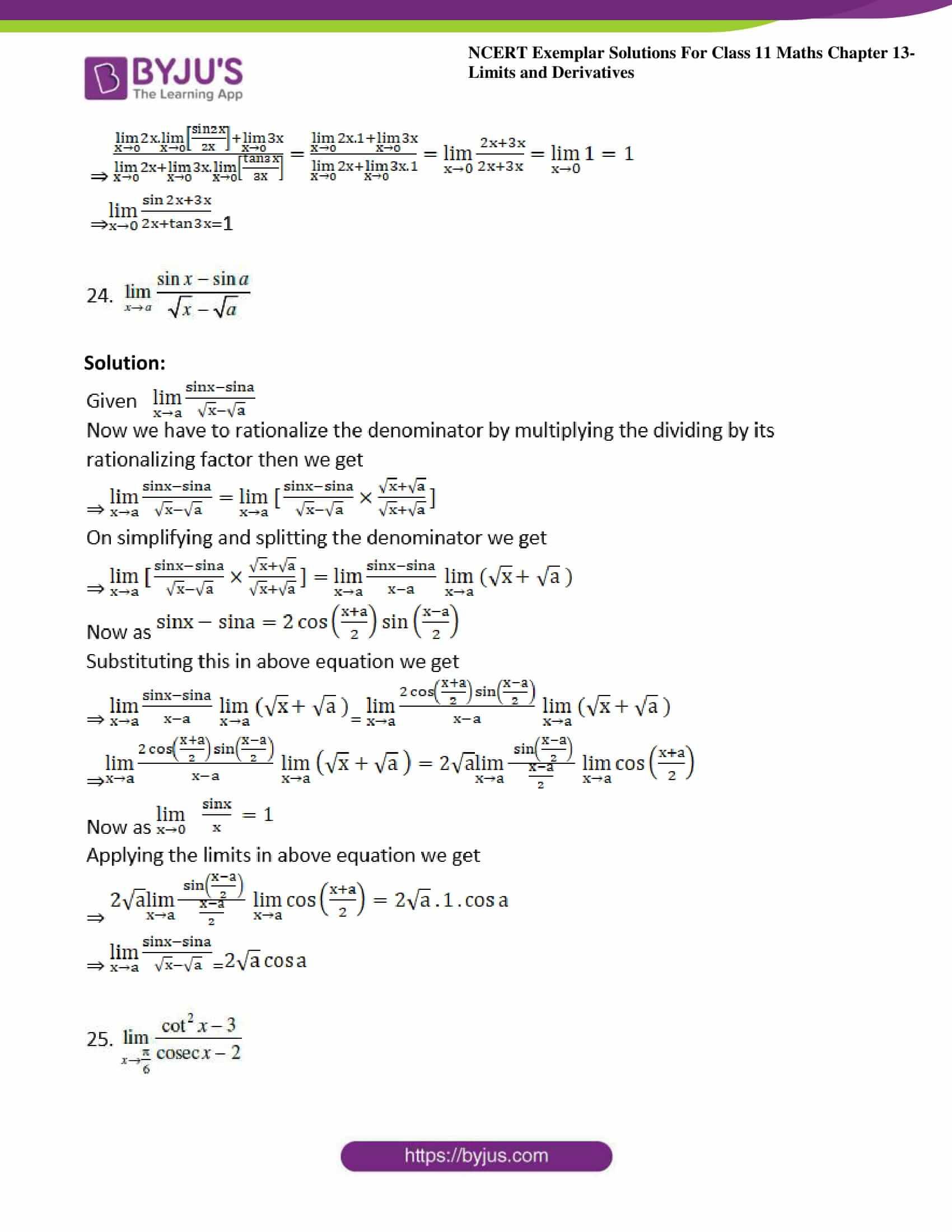 ncert exemplar sol class 11 maths chpt 13 limits 12