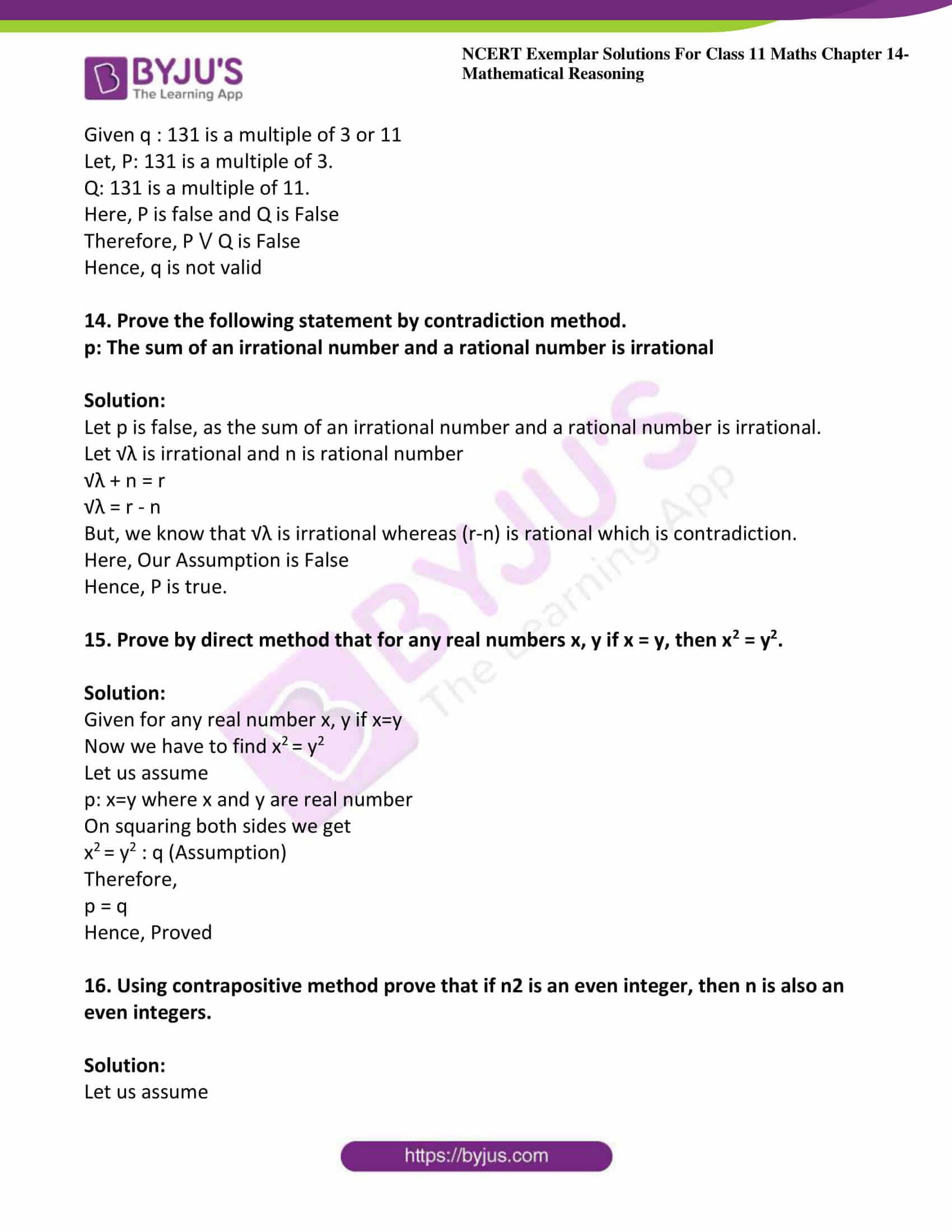ncert exemplar sol class 11 maths chpt 14 mathematical 22