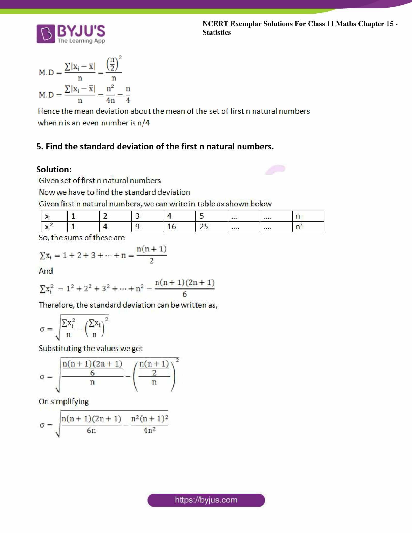 ncert exemplar sol class 11 maths chpt 15 statistics 06