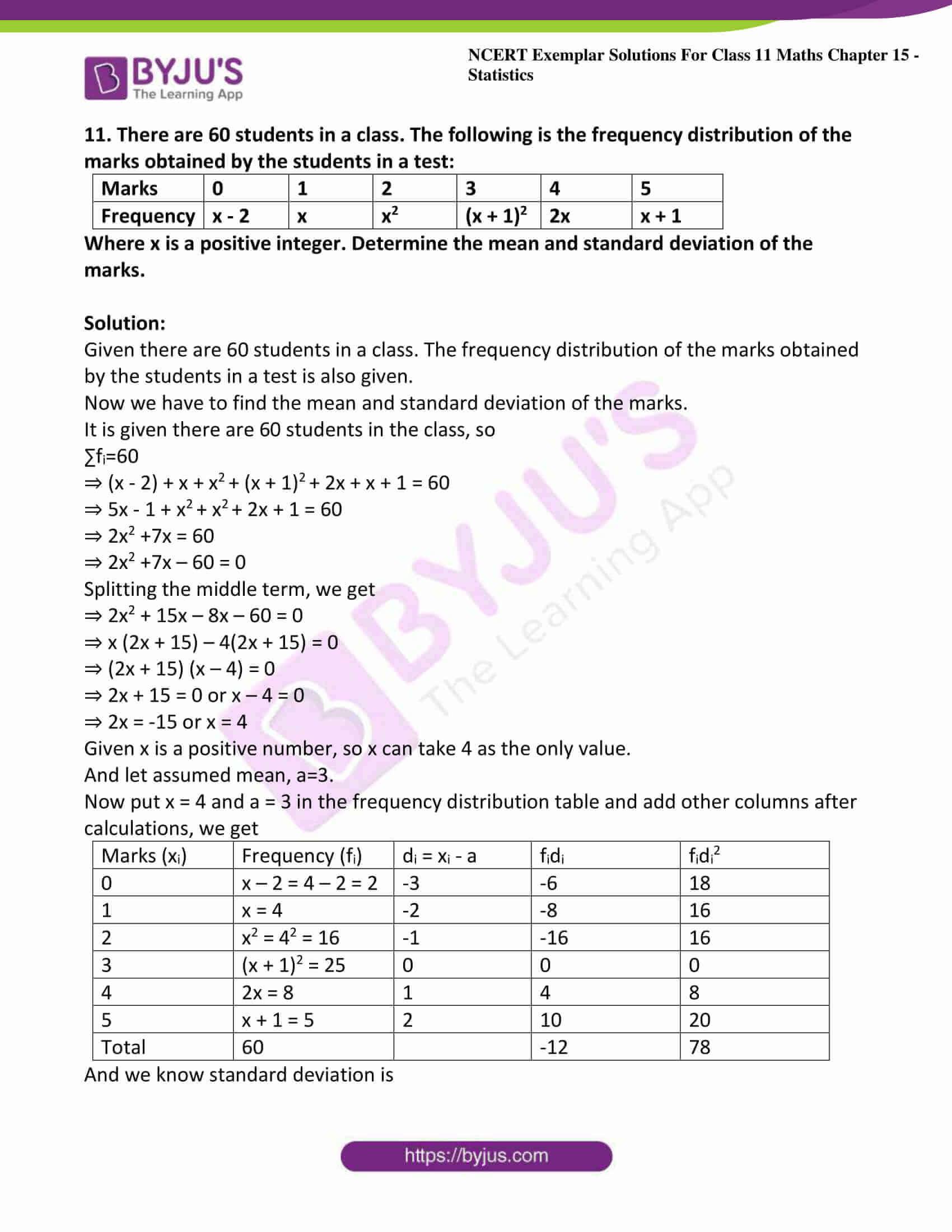 ncert exemplar sol class 11 maths chpt 15 statistics 16