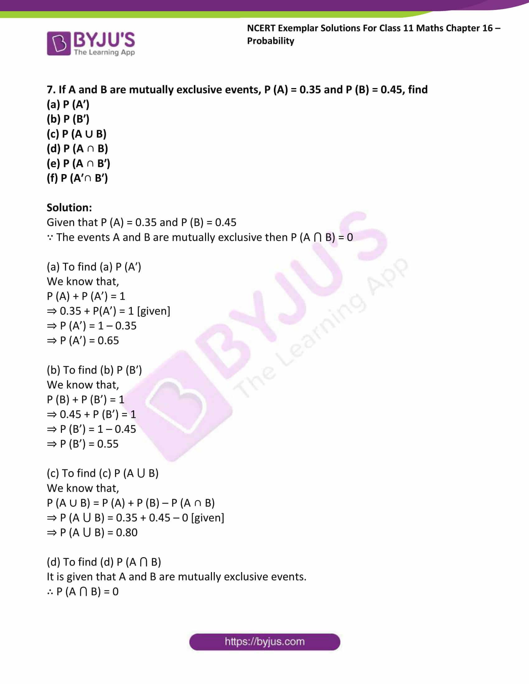 ncert exemplar sol class 11 maths chpt 16 probability 06