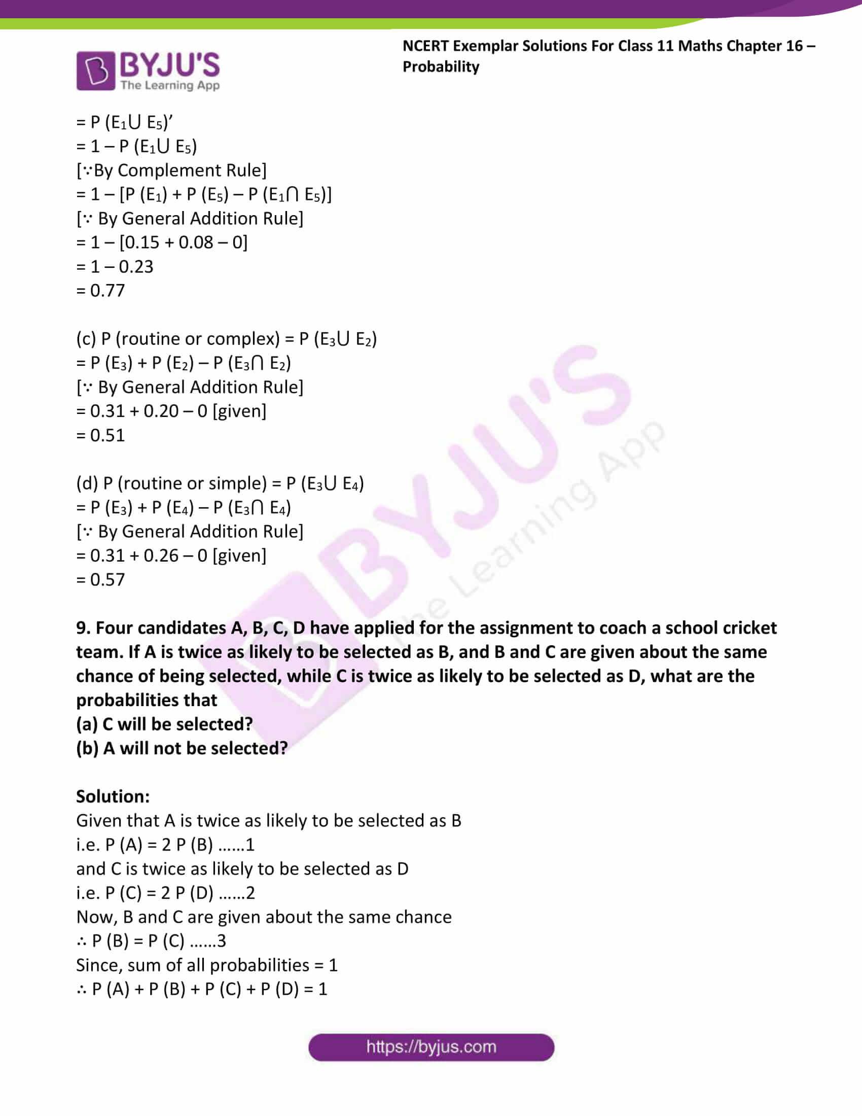 ncert exemplar sol class 11 maths chpt 16 probability 08