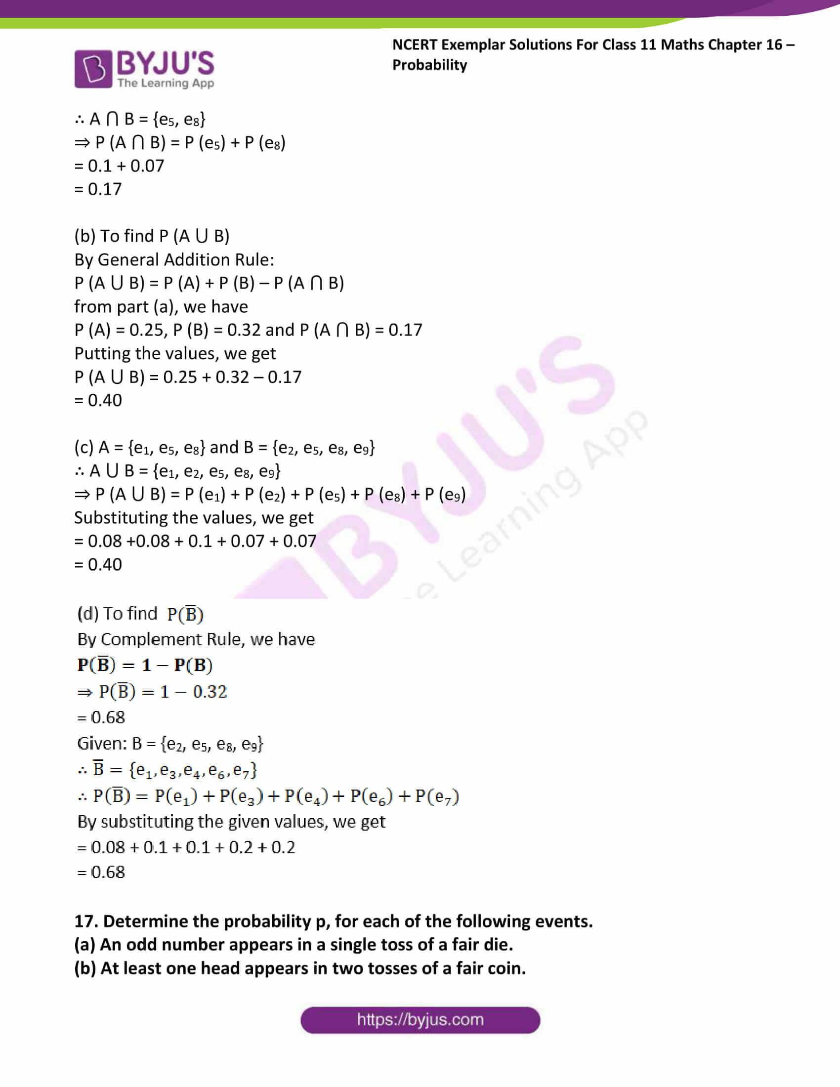 ncert exemplar sol class 11 maths chpt 16 probability 21